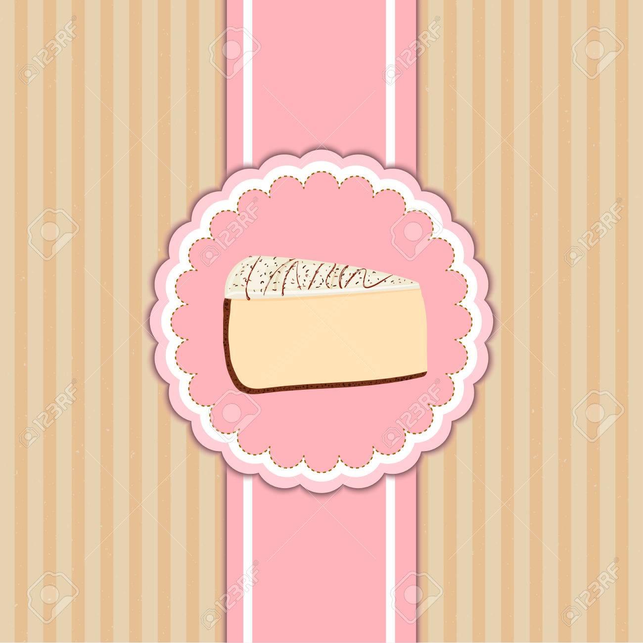 Ein Stück Kuchen In Einem Rosa Kreis Auf Beige Hintergrund Jahrgang. Ideen  Für Die Gestaltung Von Kuchen Menü Im ...