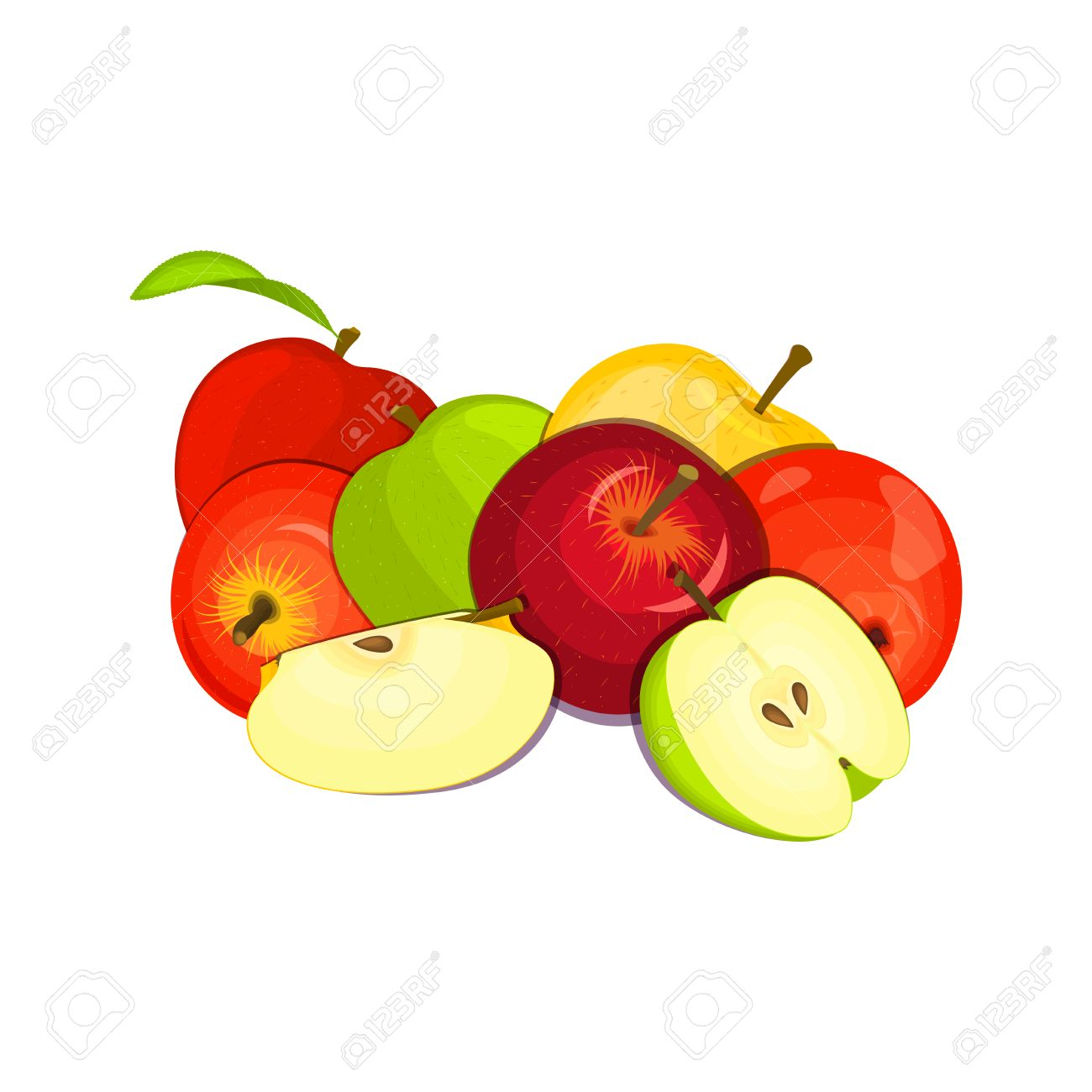 green apple fruit drawing. vector drawing of a few apples. yellow, red and green apple fruits appetizing looking fruit l