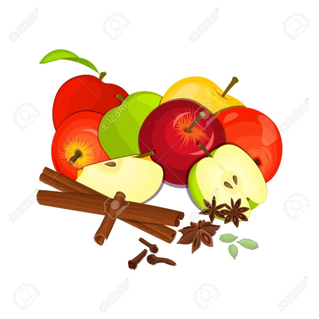 Dessin Pomme dessin vectoriel de quelques pommes avec des épices. jaune, rouge et