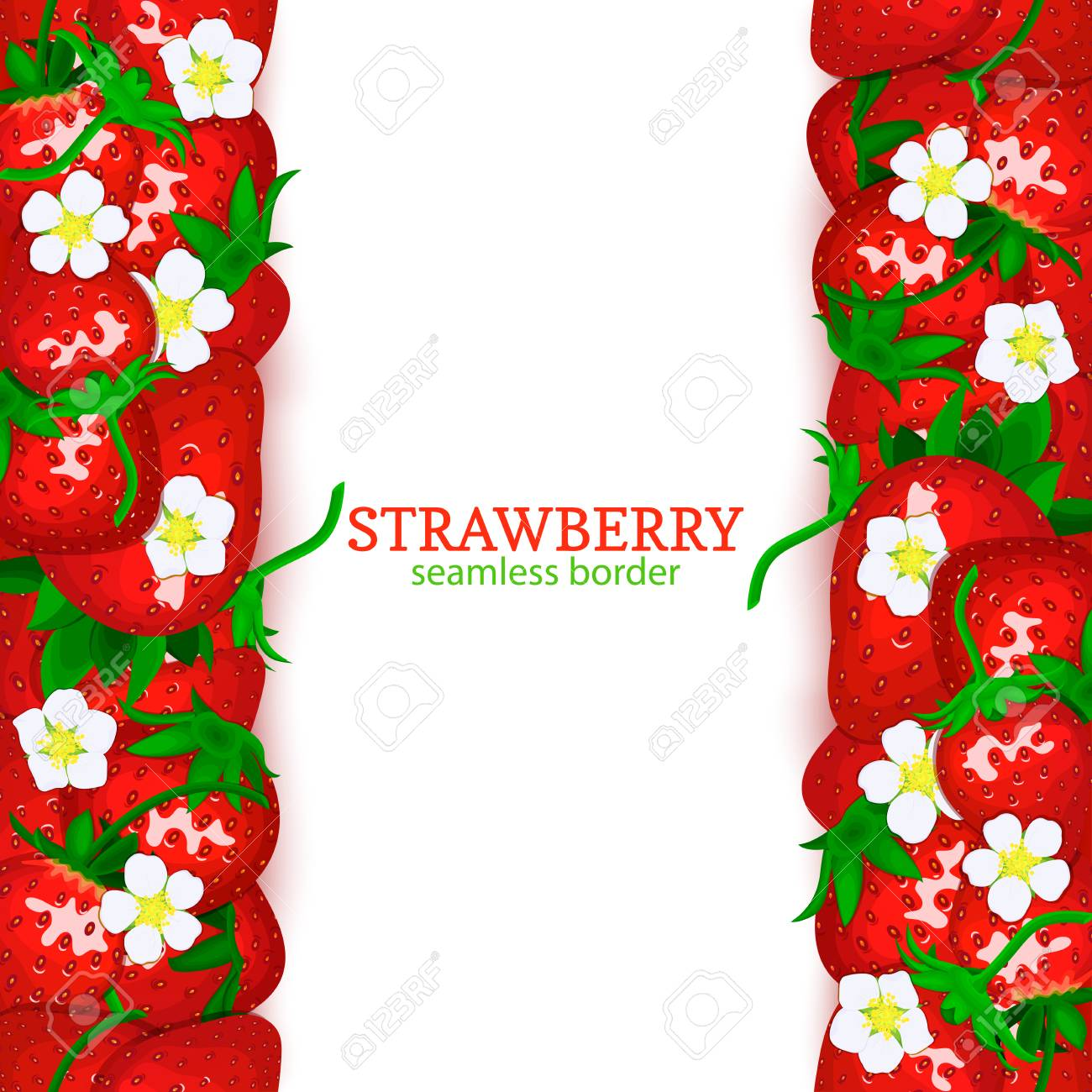 Strawberry Fruit Vertical Seamless Border Vector Illustration Card Top And Bottom Fresh Red Beries For