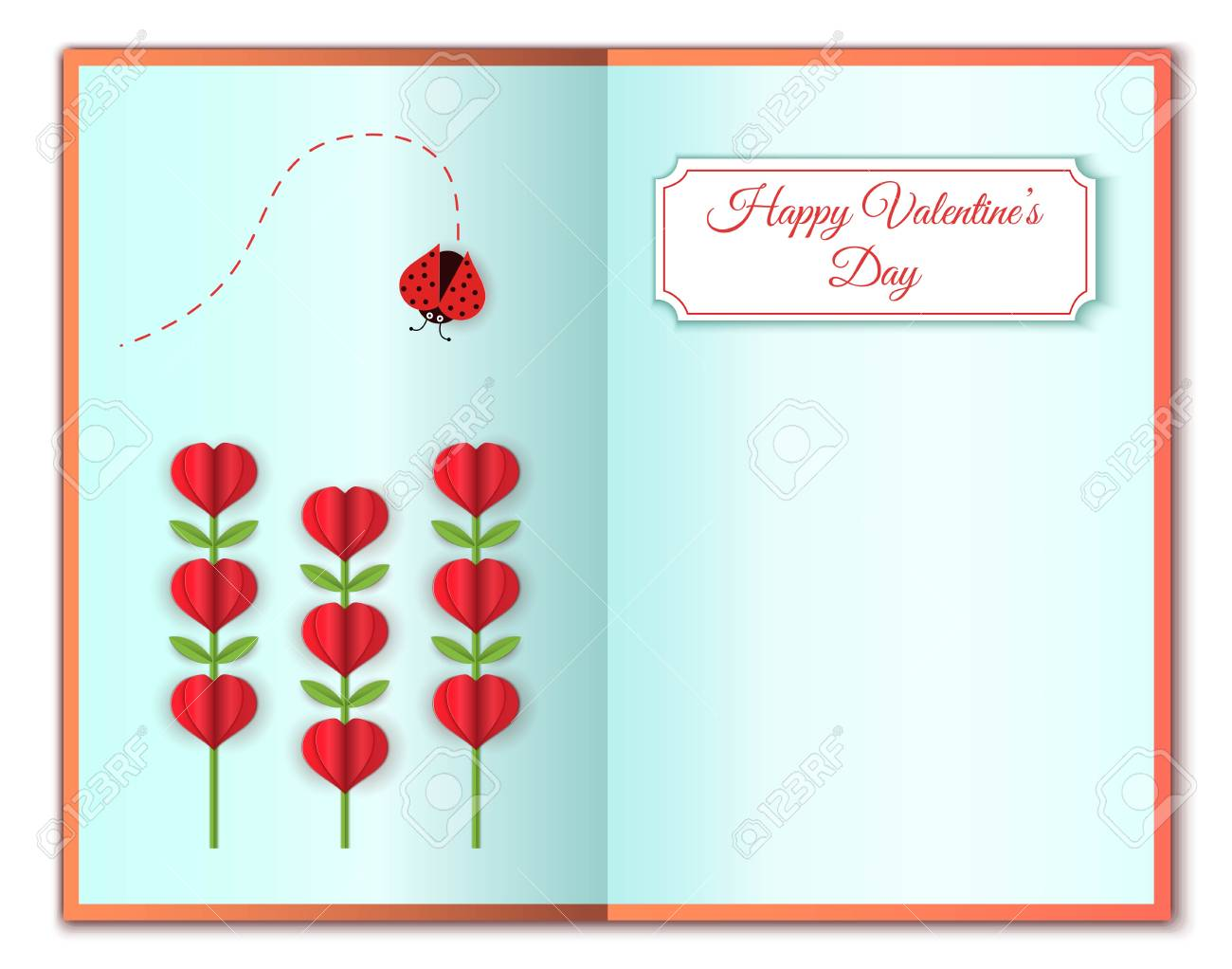 Happy Valentines Greeting Card Of Love And Valentines Day Heart