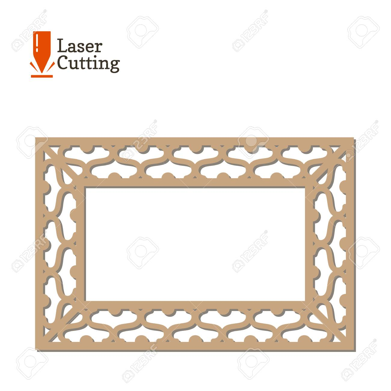 Laser Cut Panel. Vector Frame Template For Cut On Laser Machine ...
