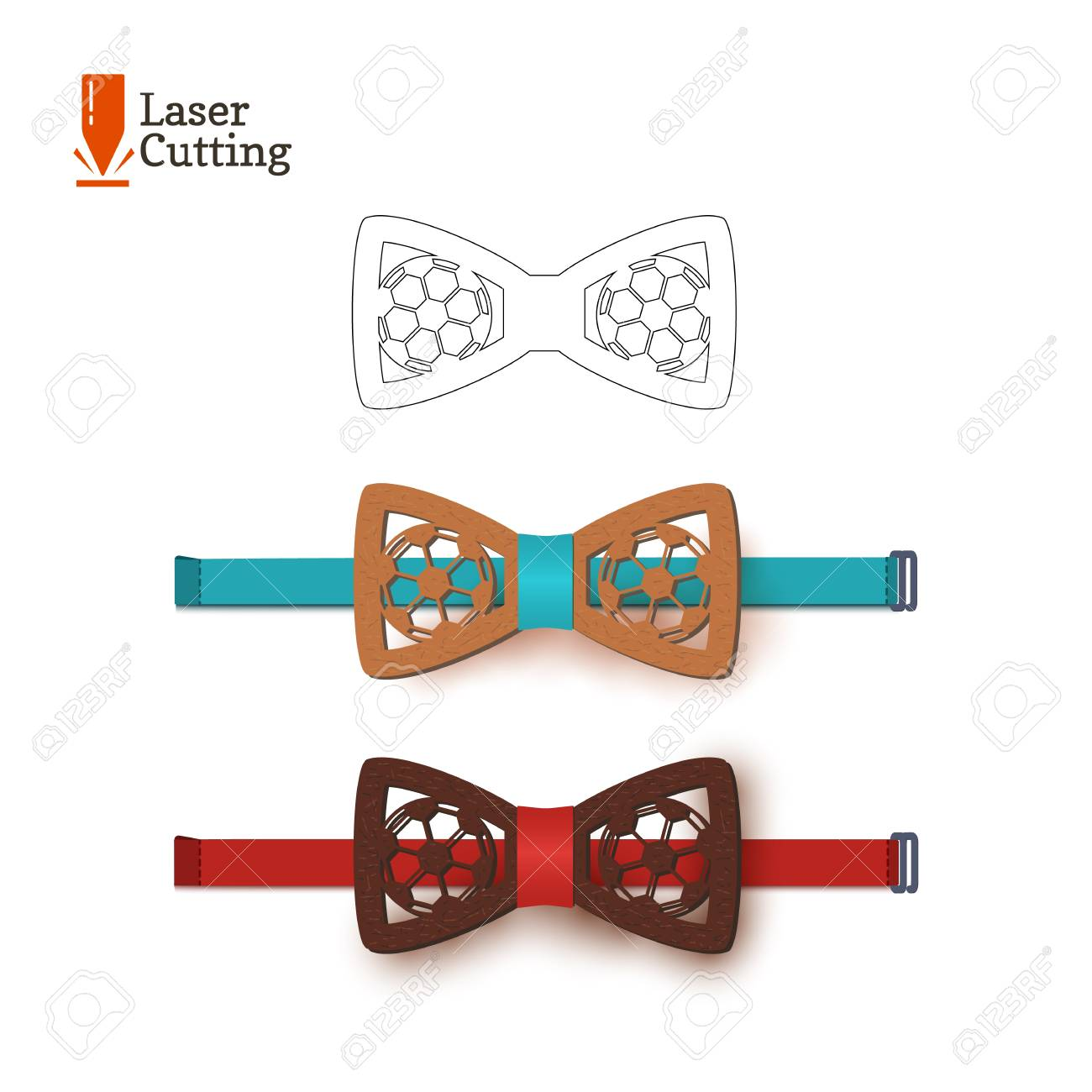 Laser Cut Bow Tie Template Souvenir For World Football Cup For