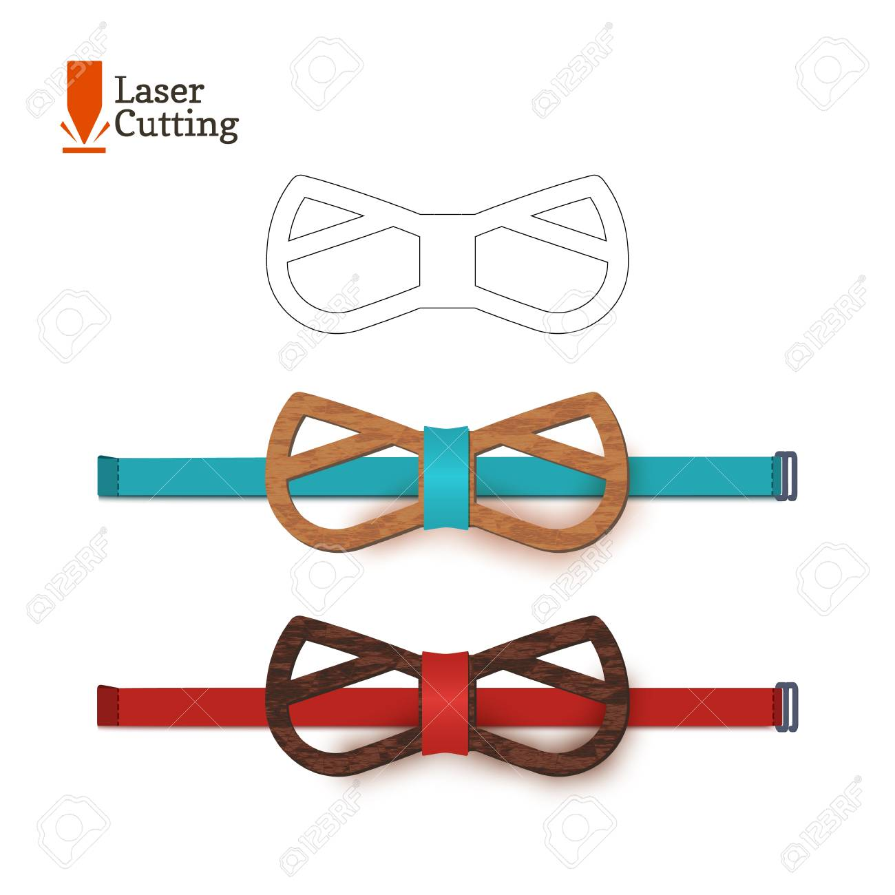 Laser Cut Bow Tie Template For DIY. Vector Silhouette With Cute Cat Ears For