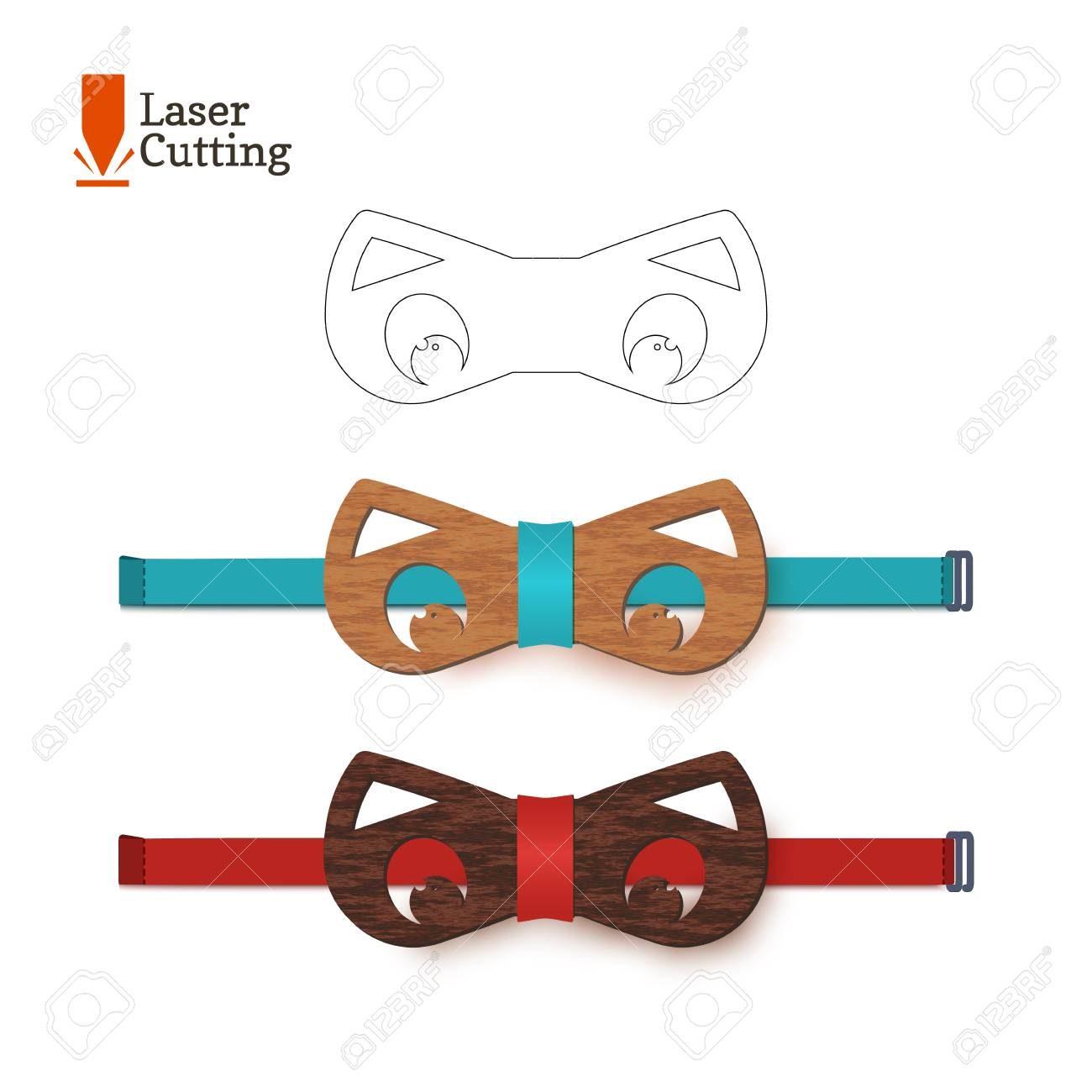 Laser Cut Bow-tie Template For DIY. Vector Silhouette With Cute ...