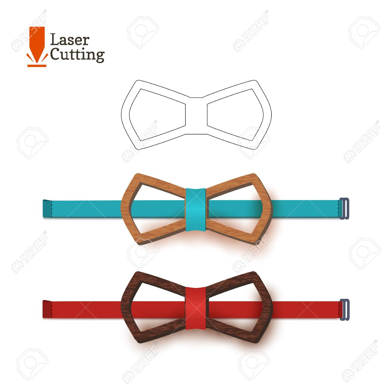 laser cut bow tie template vector silhouette for cutting a bow