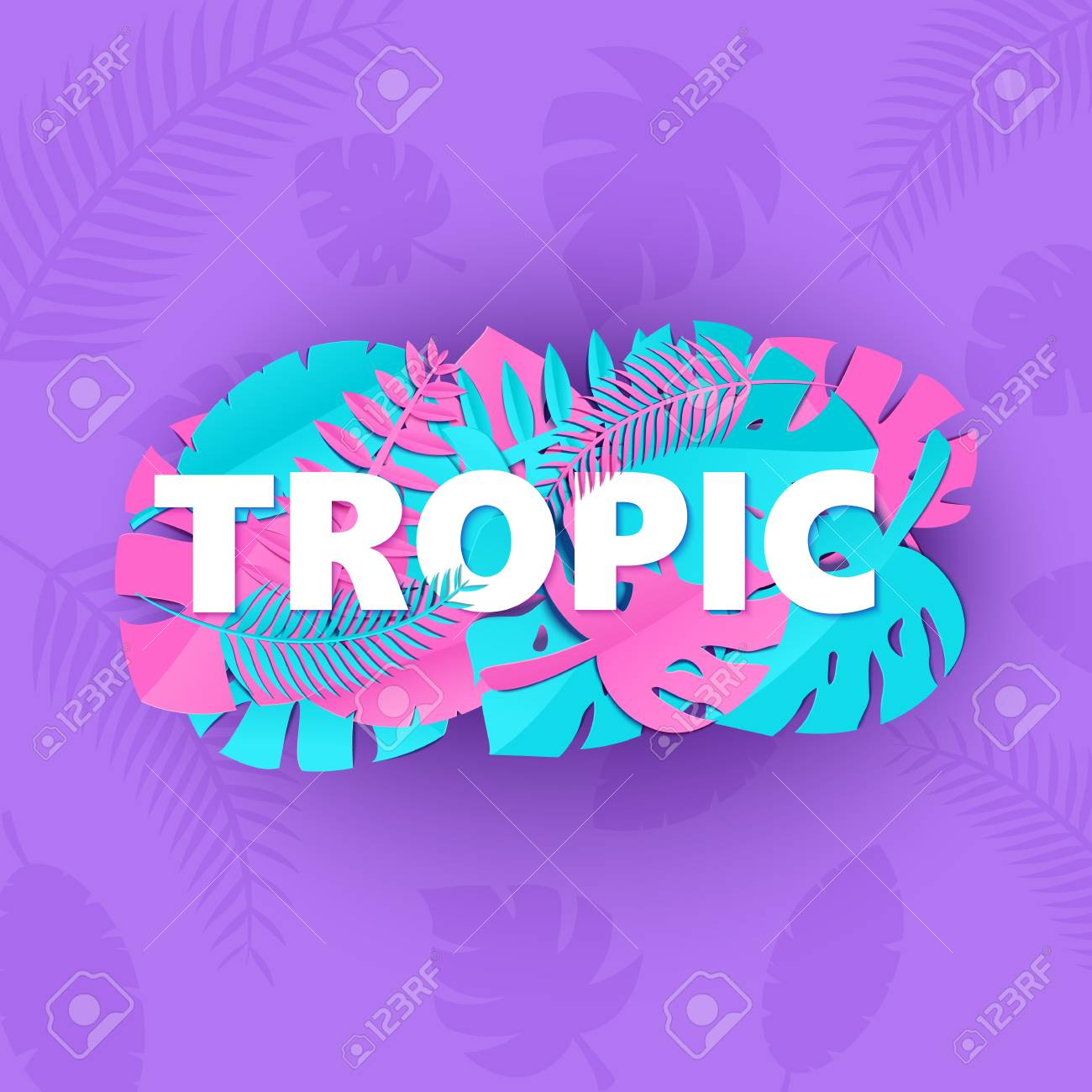 word tropic composition with creative pink blue jungle leaves on