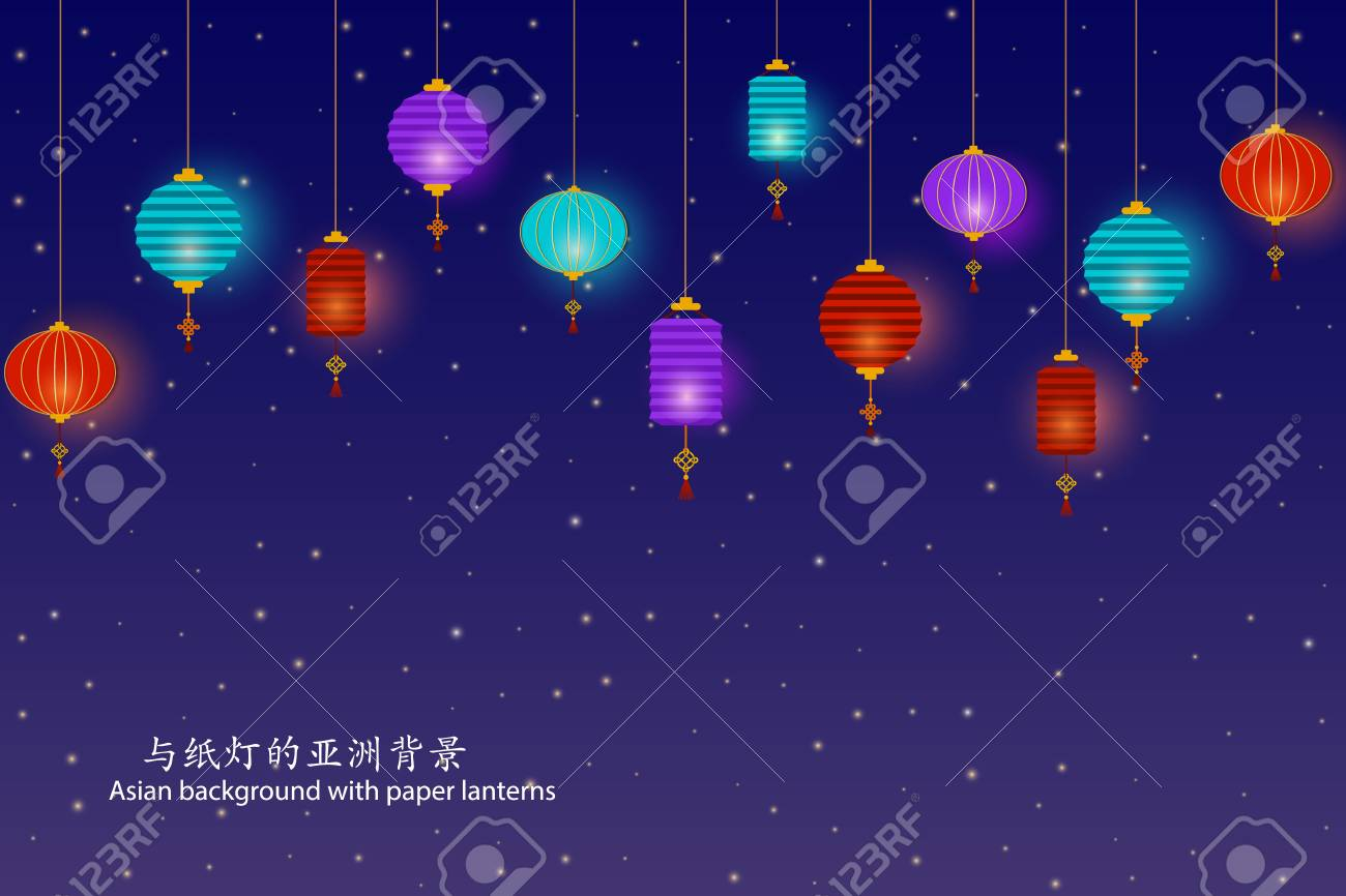 asian starry night background with paper lanterns template for mid autumn festival design chuseok