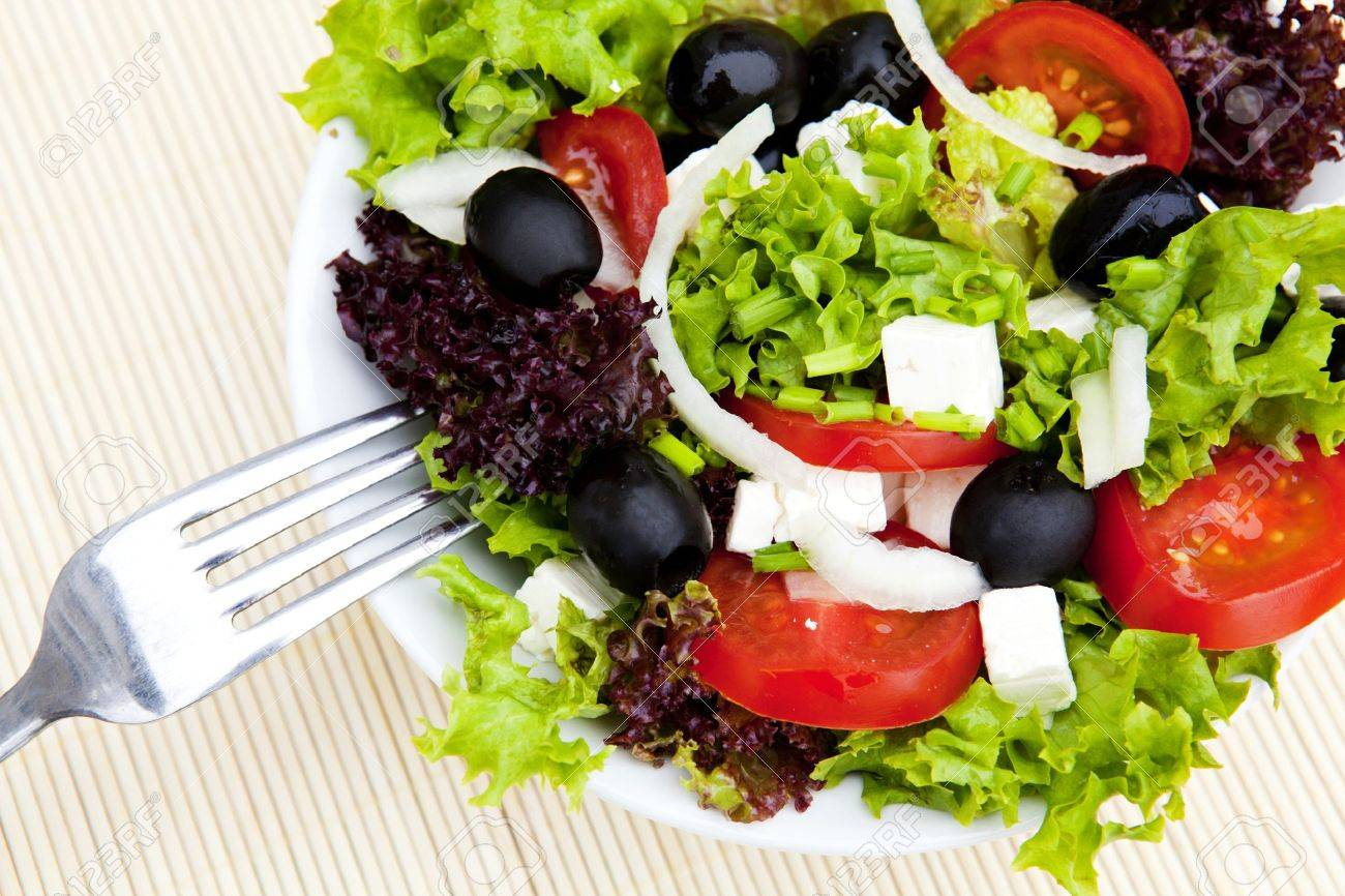 greek salad on plate with fork Stock Photo - 6915464