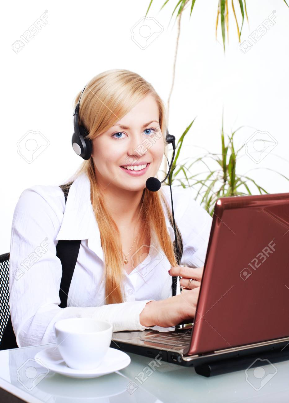 smiling blond woman working with computer in office Stock Photo - 8036589