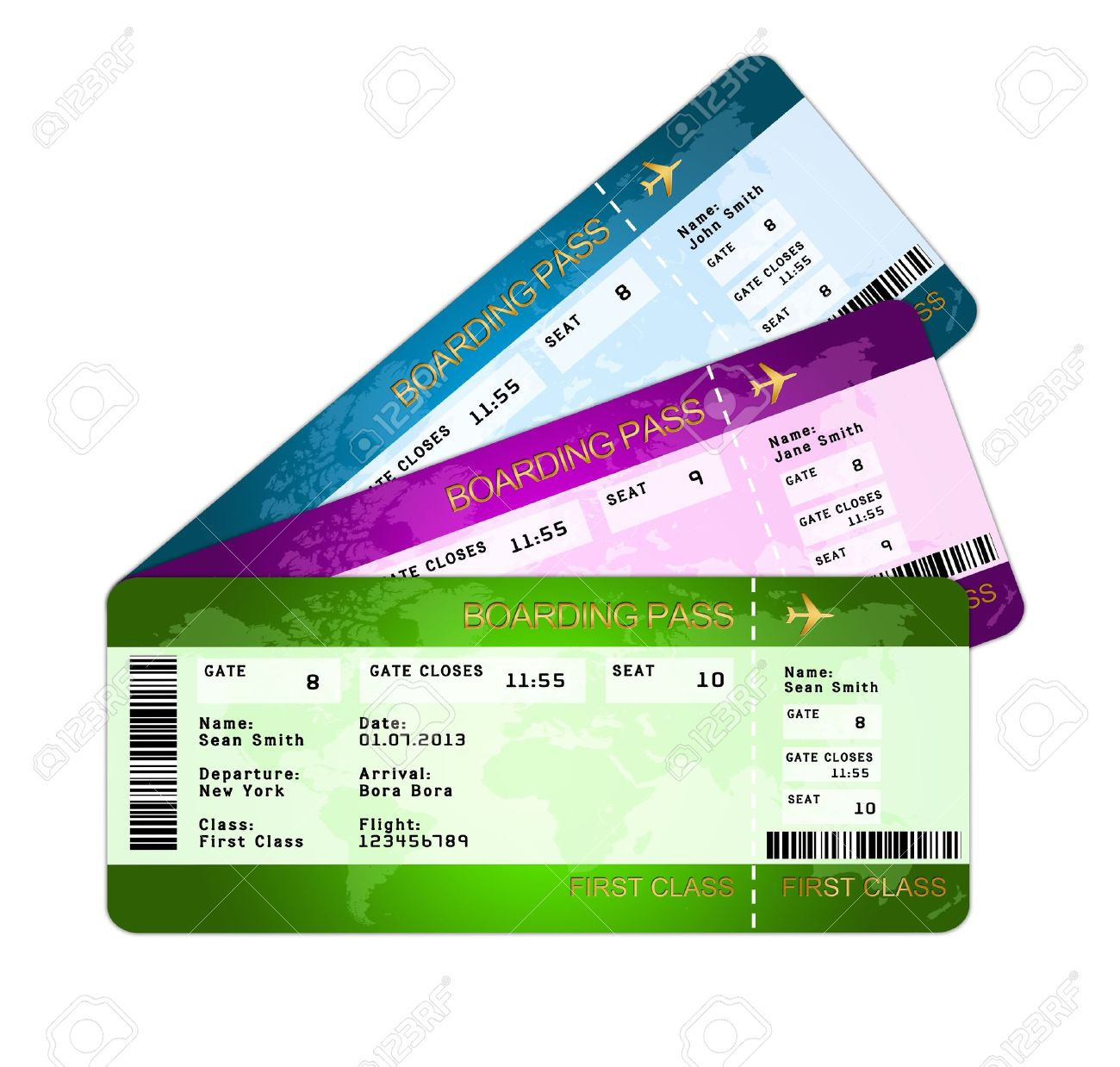 Fan Of Boarding Pass Tickets Isolated Over White Background Stock