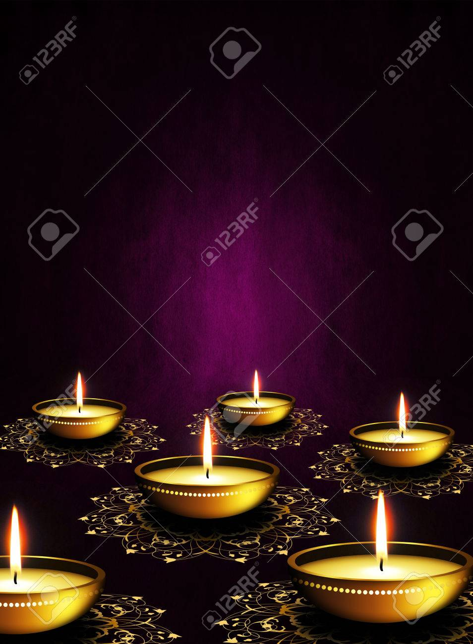 Oil Lamps With Place For Diwali Greetings Over Dark Violet