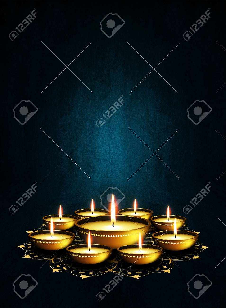 Oil Lamp With Place For Diwali Greetings Over Dark Blue Background