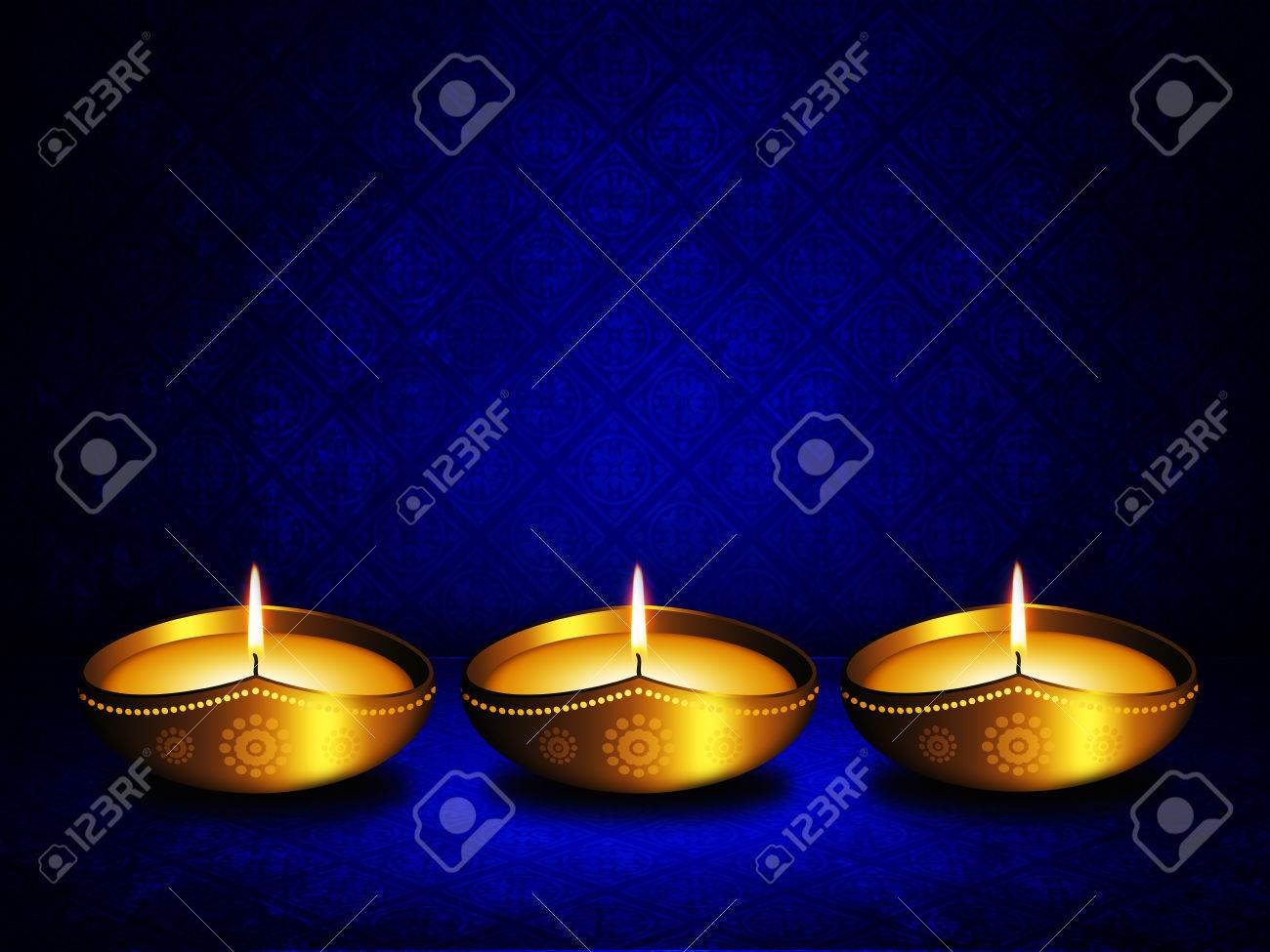 Oil Lamp With Place For Diwali Greetings Over Dark Blue Stock Photo