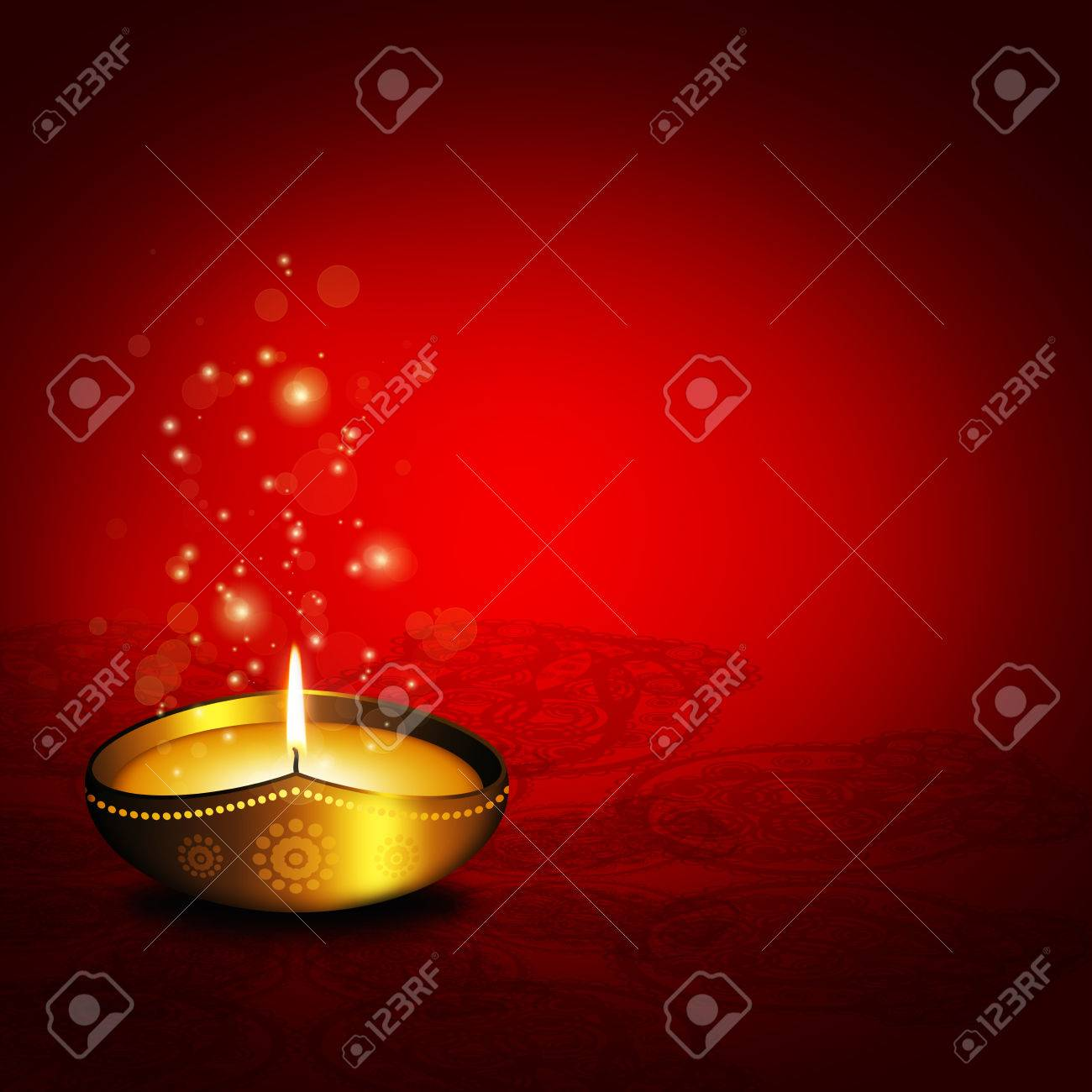 Oil Lamp With Place For Diwali Greetings Over Dark Red Stock Photo