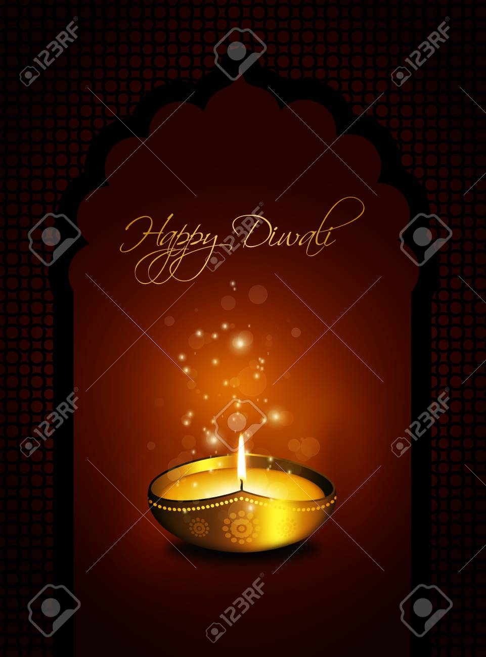 Oil Lamp With Diwali Greetings Over Gold Stock Photo Picture And