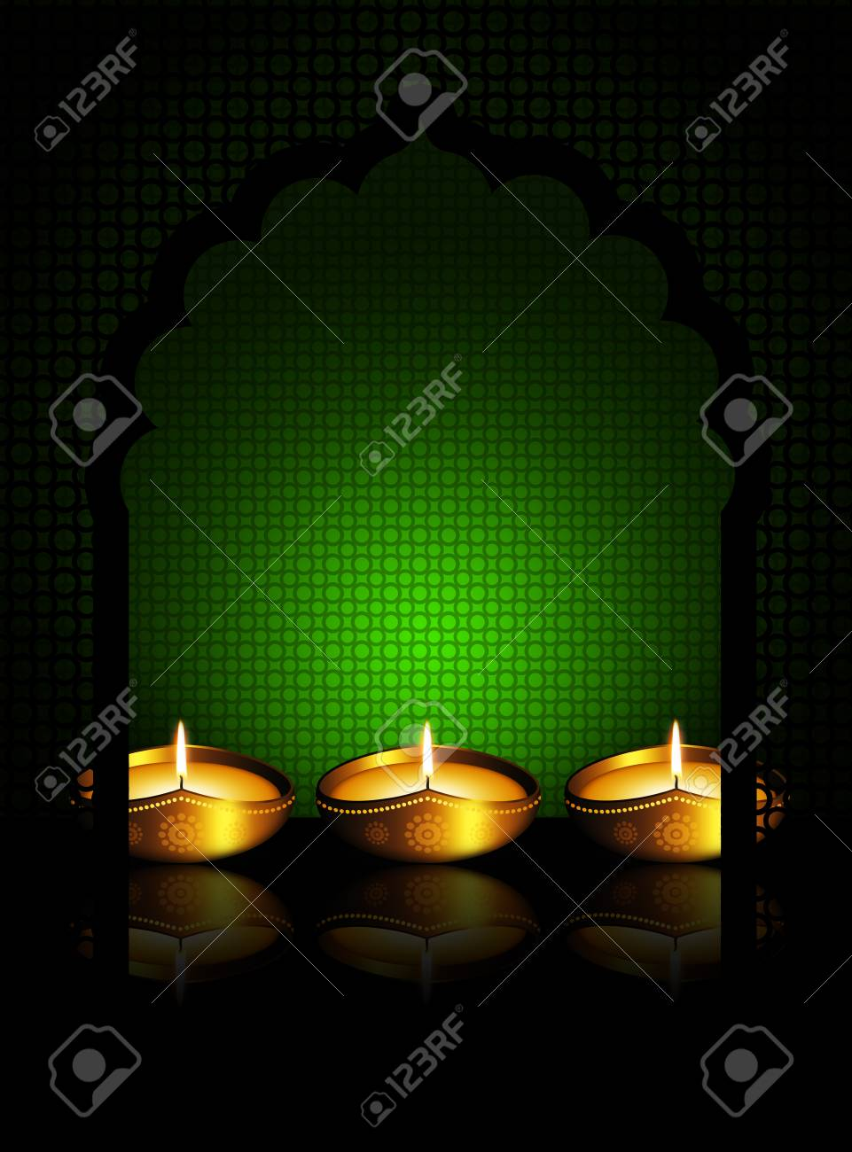 Oil Lamp With Place For Diwali Diya Greetings Over Dark Green Stock