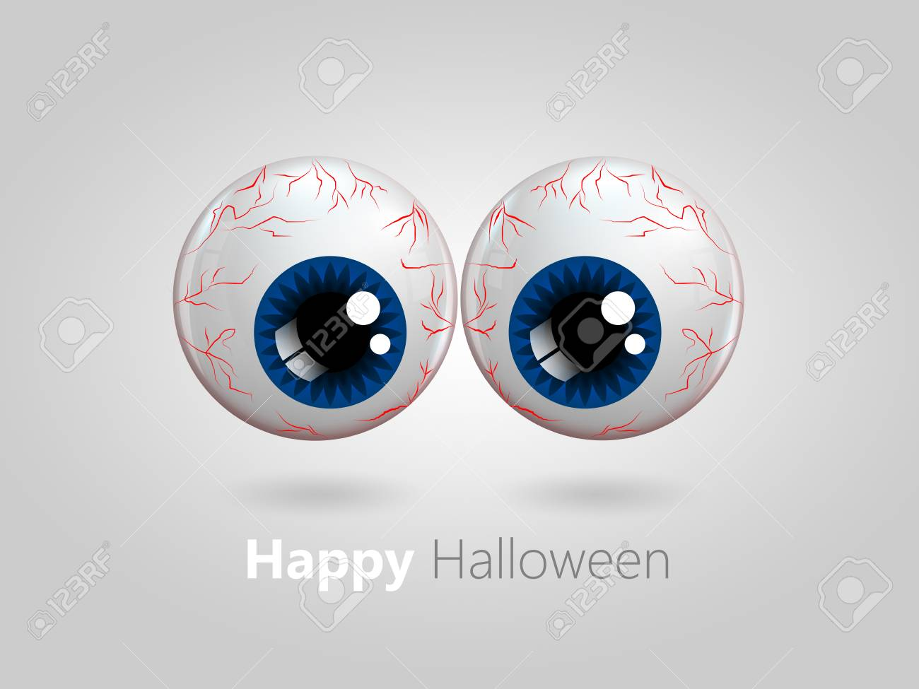Funny Cartoon Blue Eyes With Halloween Wishes Over Grey Background Stock  Photo   31208609