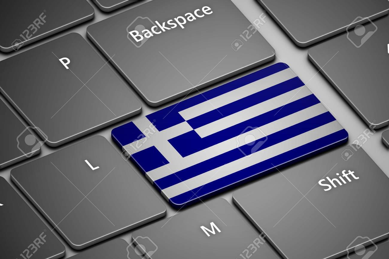 closeup of computer keyboard with greek flag button