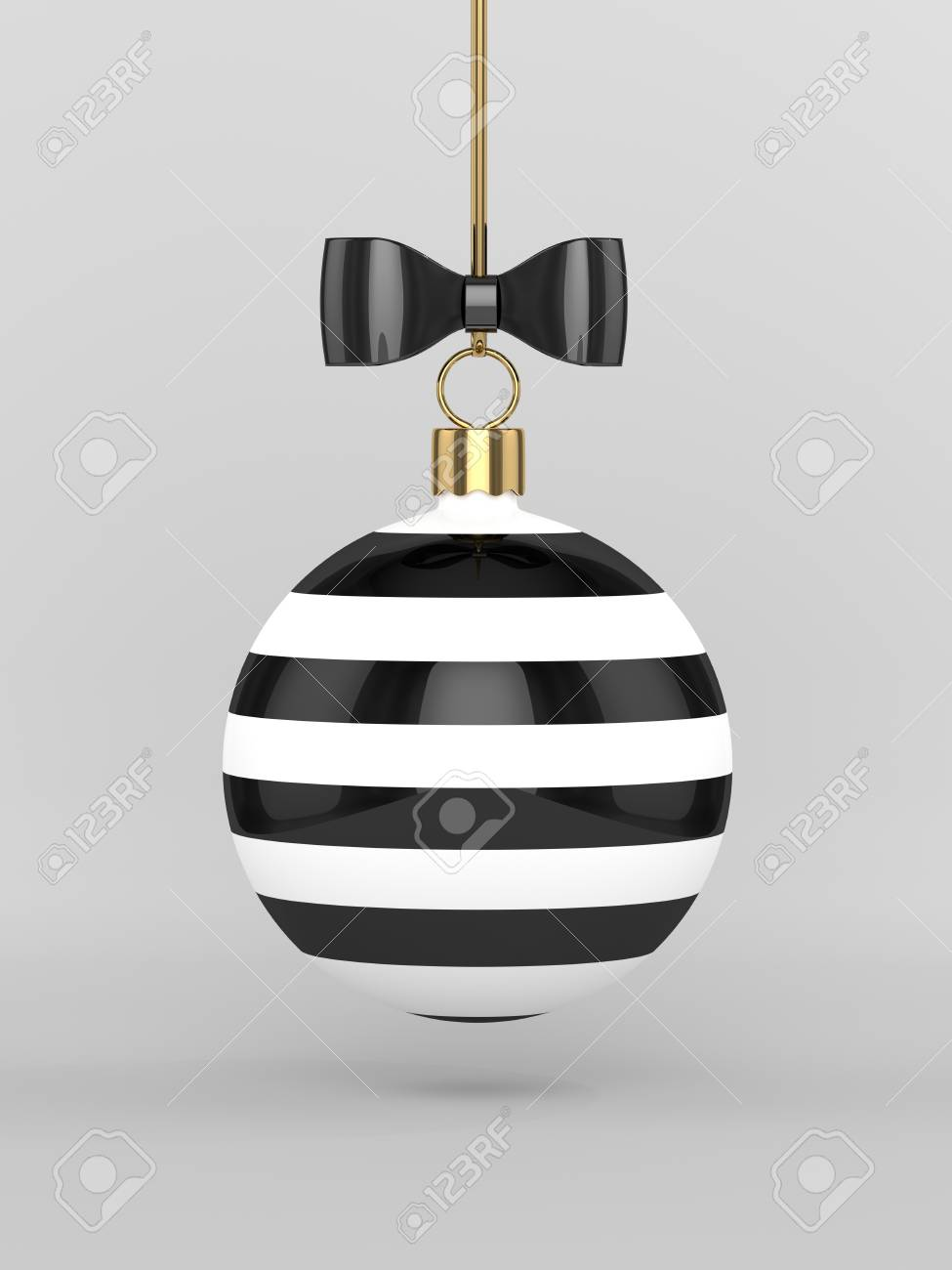 Rendu 3d De Boule De Noël Noir Et Blanc Sur Fond Gris