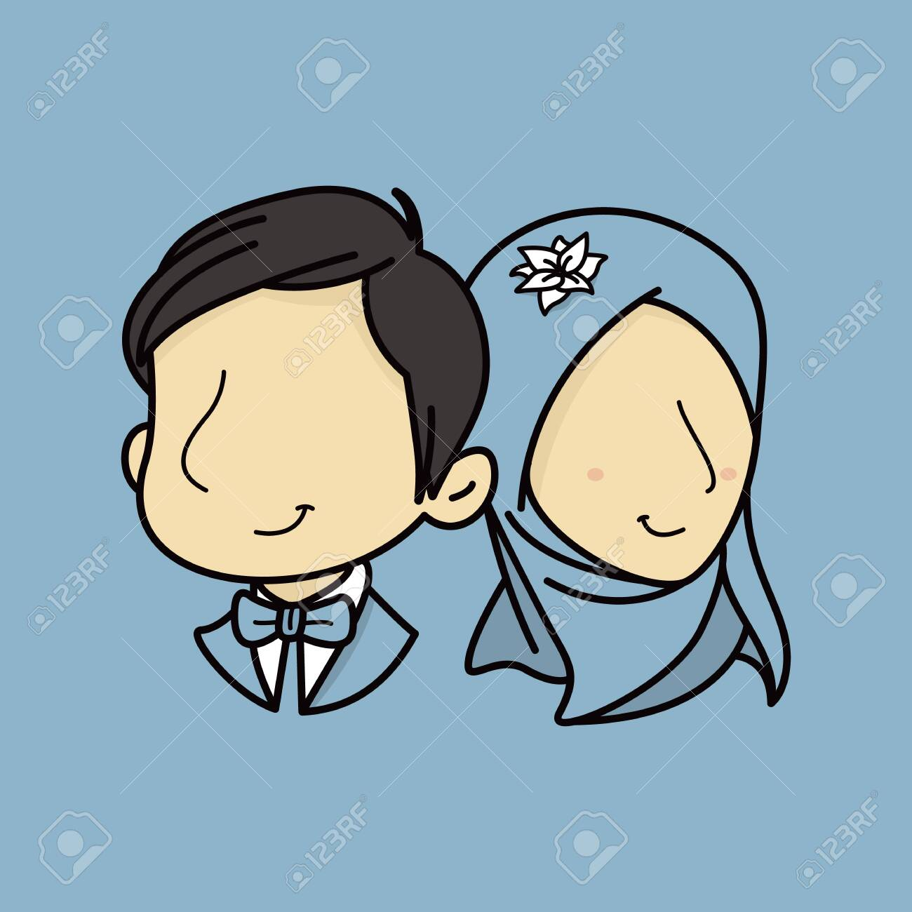 Portrait Muslim Wedding Couple Without Face Romantic Couple Royalty Free Cliparts Vectors And Stock Illustration Image 124343179