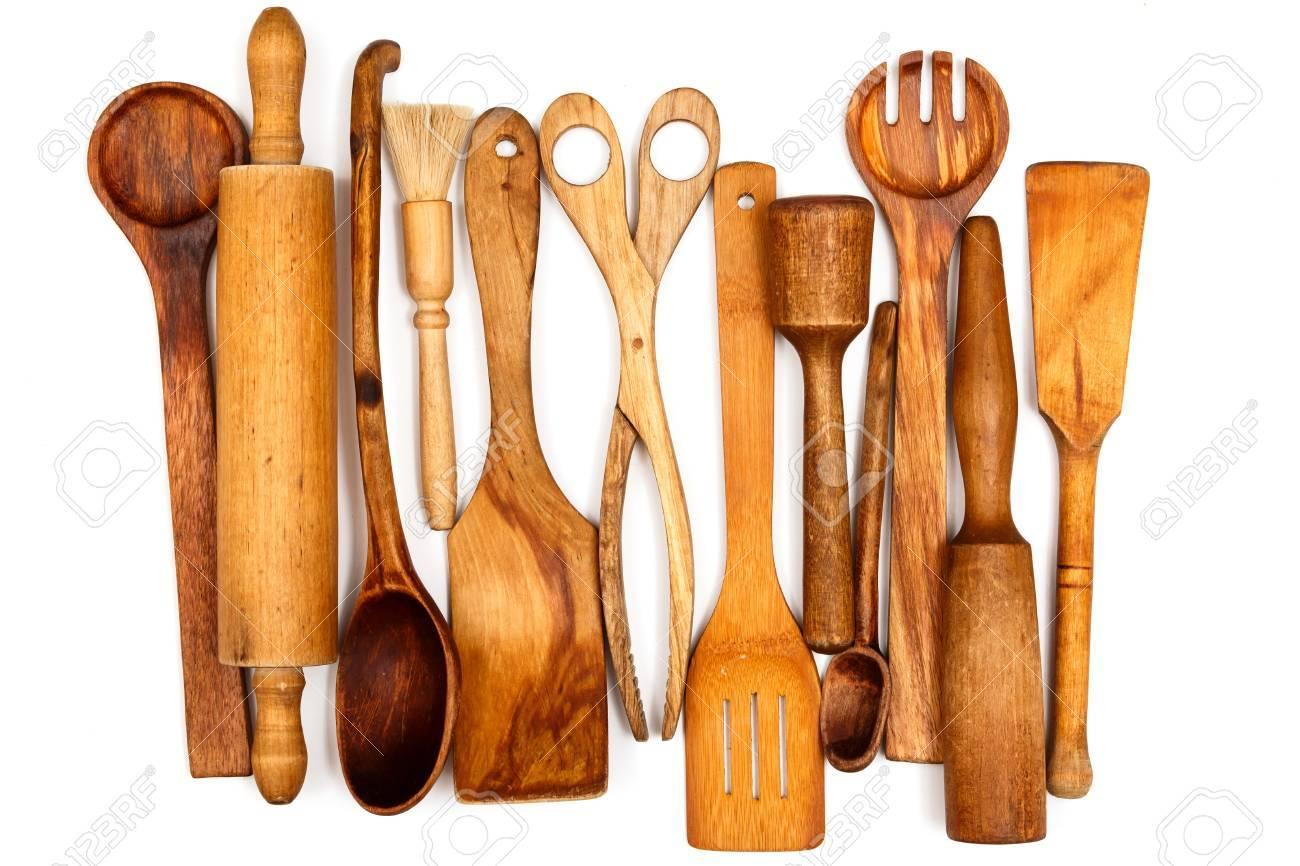 Kuchenutensilien Aus Holz Auf Weissem Hintergrund Lizenzfreie Fotos Bilder Und Stock Fotografie Image 36152179