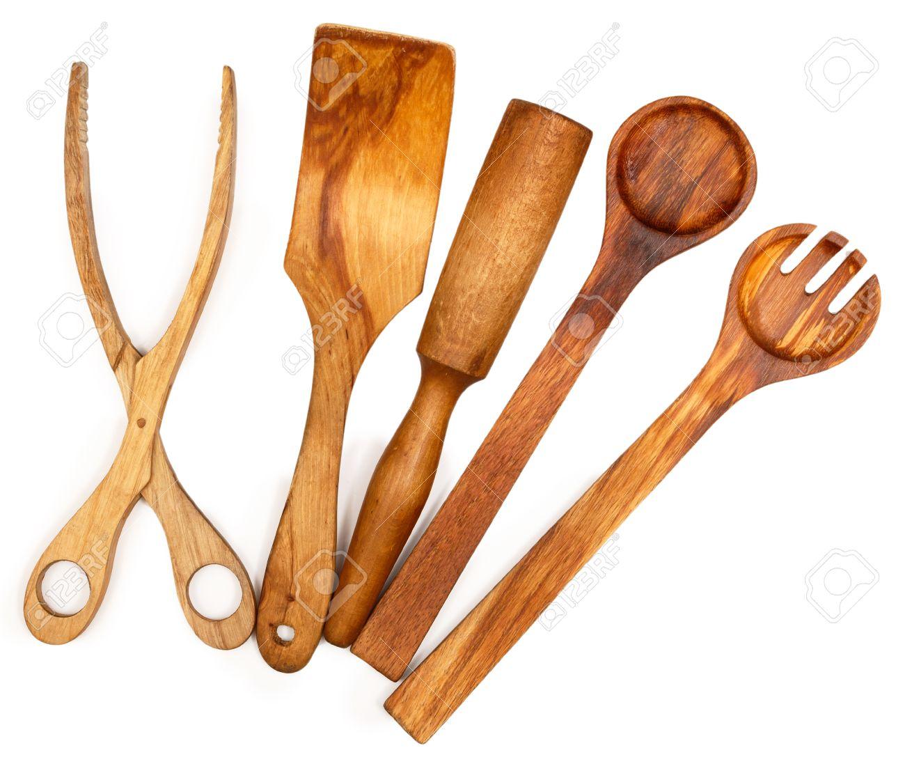 utensili da cucina in legno su sfondo bianco foto royalty free ... - Arnesi Da Cucina