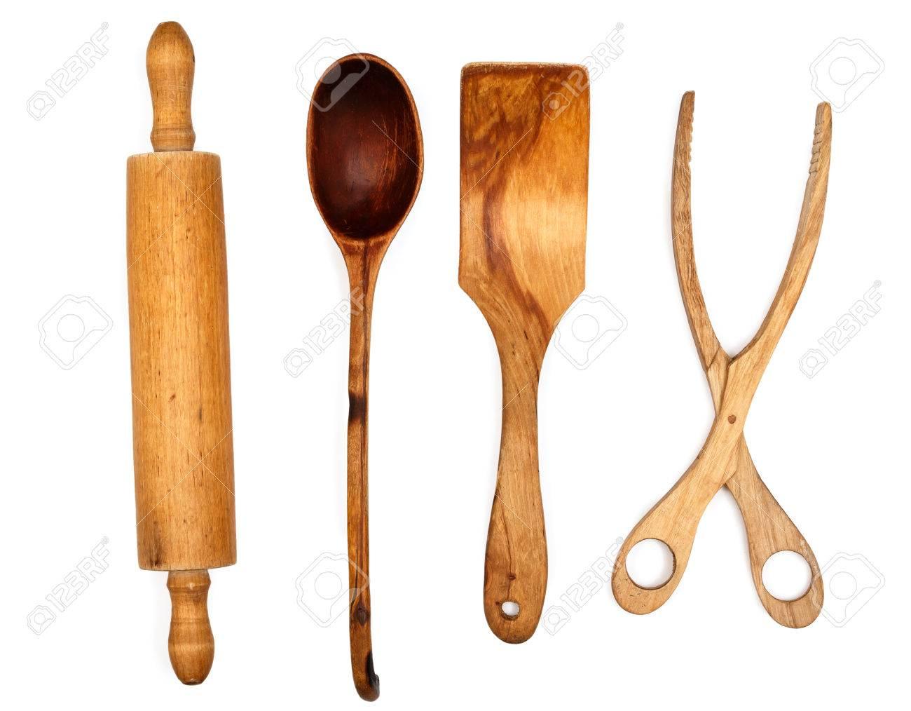 Kuchenutensilien Aus Holz Auf Weissem Hintergrund Lizenzfreie Fotos Bilder Und Stock Fotografie Image 36180102