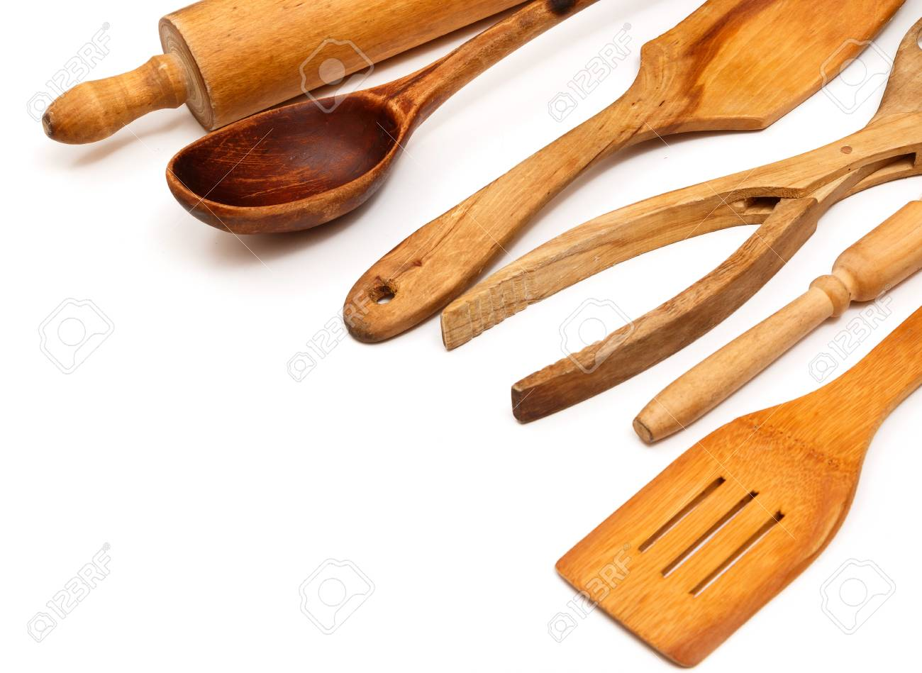 Wooden Kitchen Utensils On White Background Stock Photo, Picture And ...