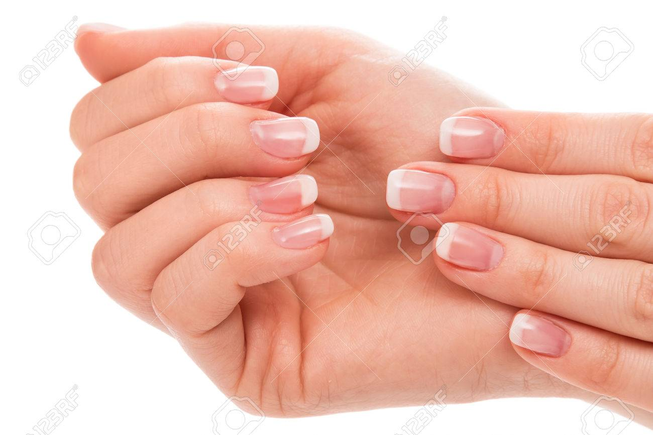 Beautiful hands with french manicure on white background - 37067139