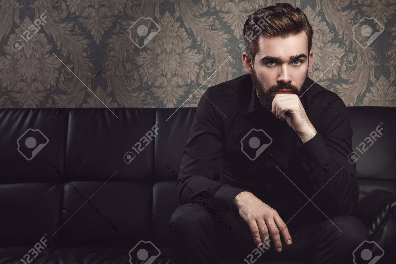 Portrait of stylish handsome man with a beard - 56659275
