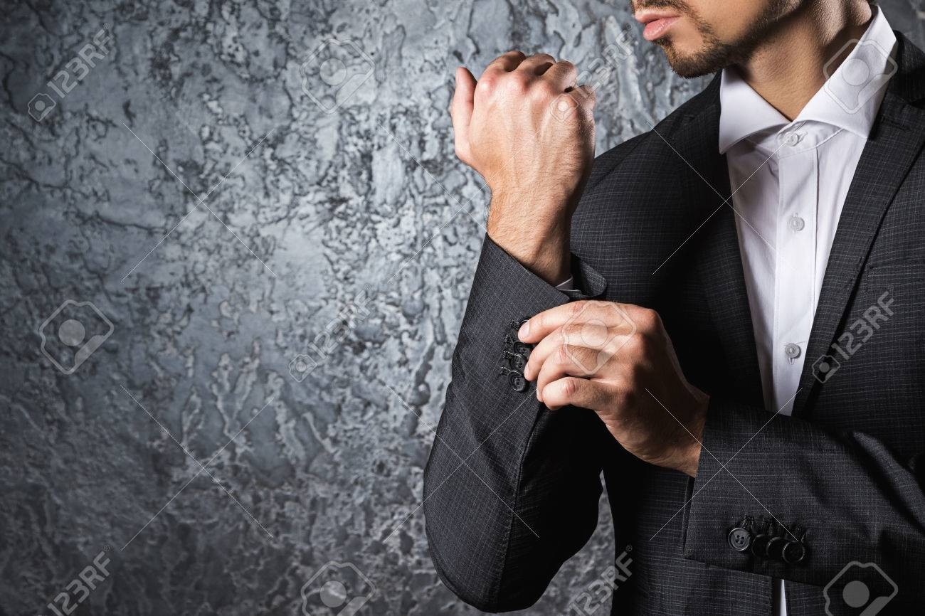 Man In Beautiful Suit Buttoning Cuff Sleeve Stock Photo, Picture And ...