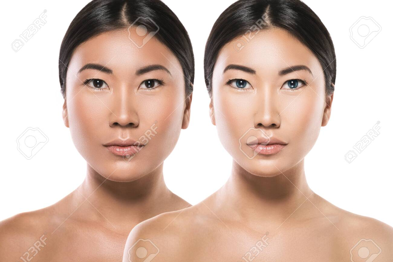 Transformation of Asian woman. Result of plastic surgery or retouch. - 133672742
