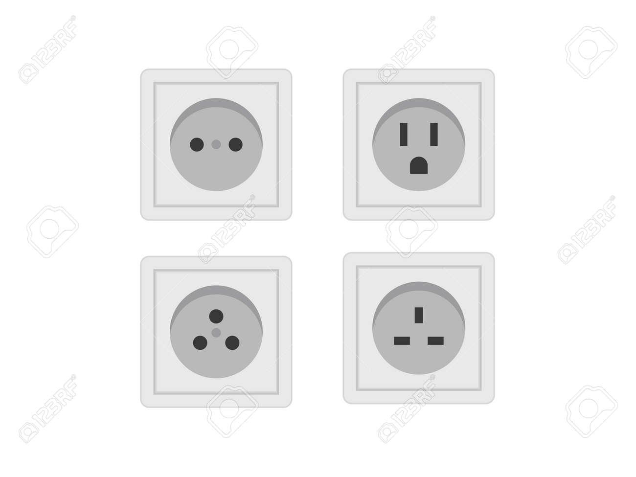 Socket icon set. Socket vector set illustration. Electricity socket set vector. - 159197417