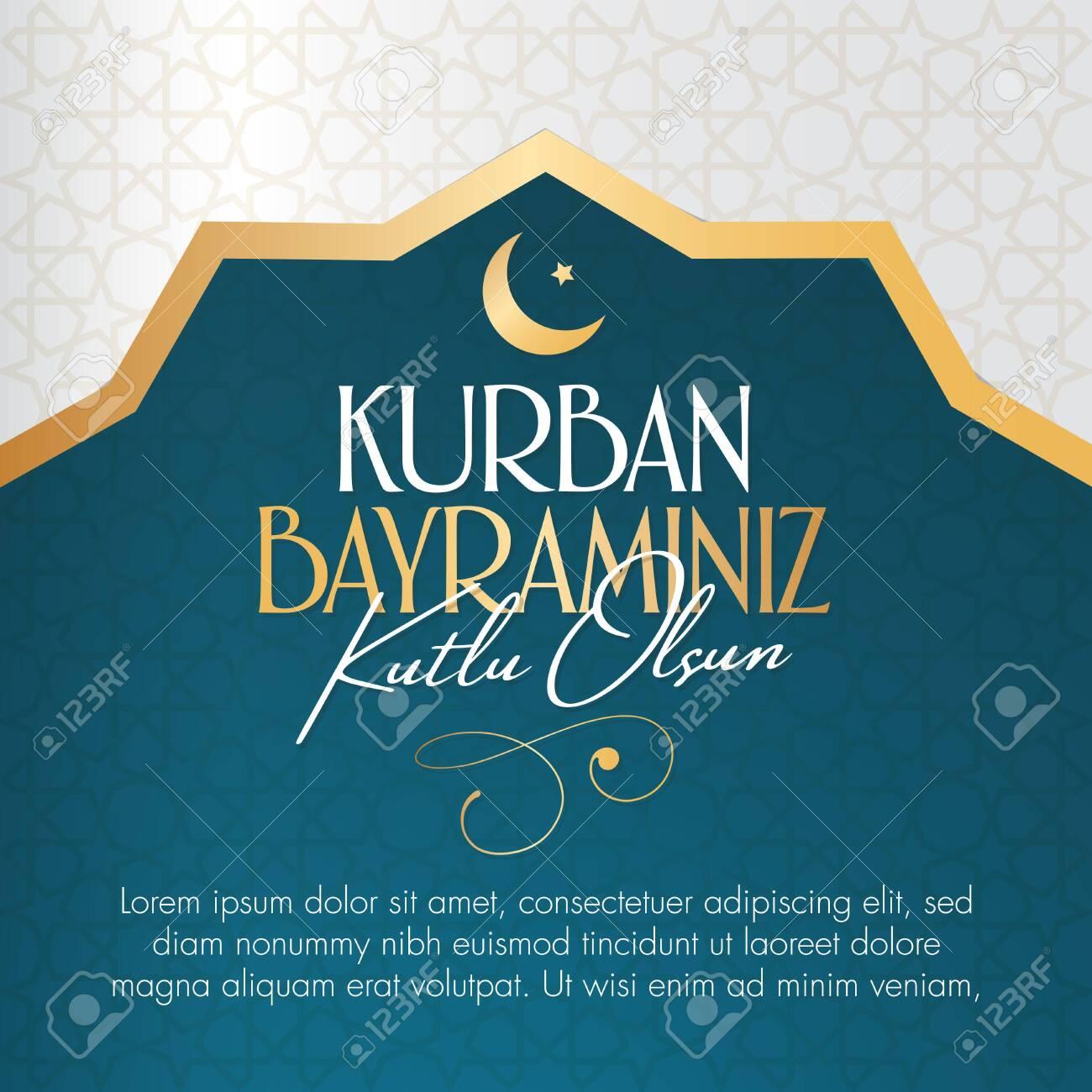 Feast of the Sacrifice Greeting (Eid al-Adha Mubarak) Holy days of muslim community. Billboard, Poster, Social Media, Greeting Card template. - 128154067