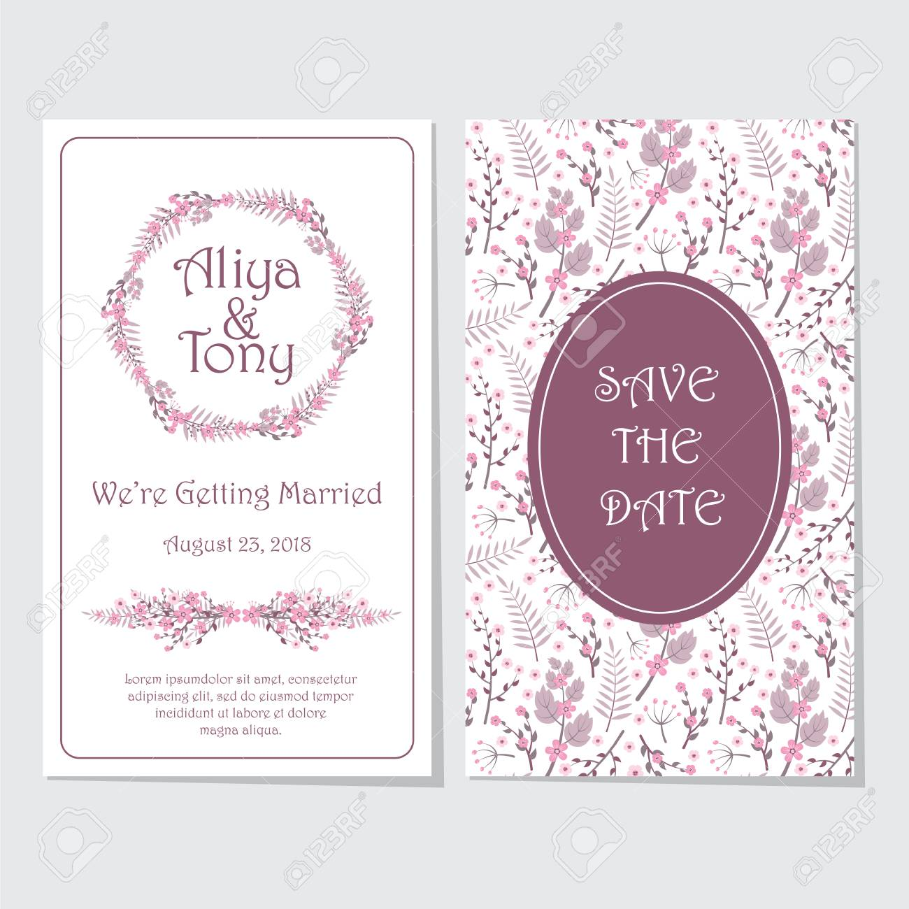 Wedding Invitation Card, Vector Design Template With Pink And ...