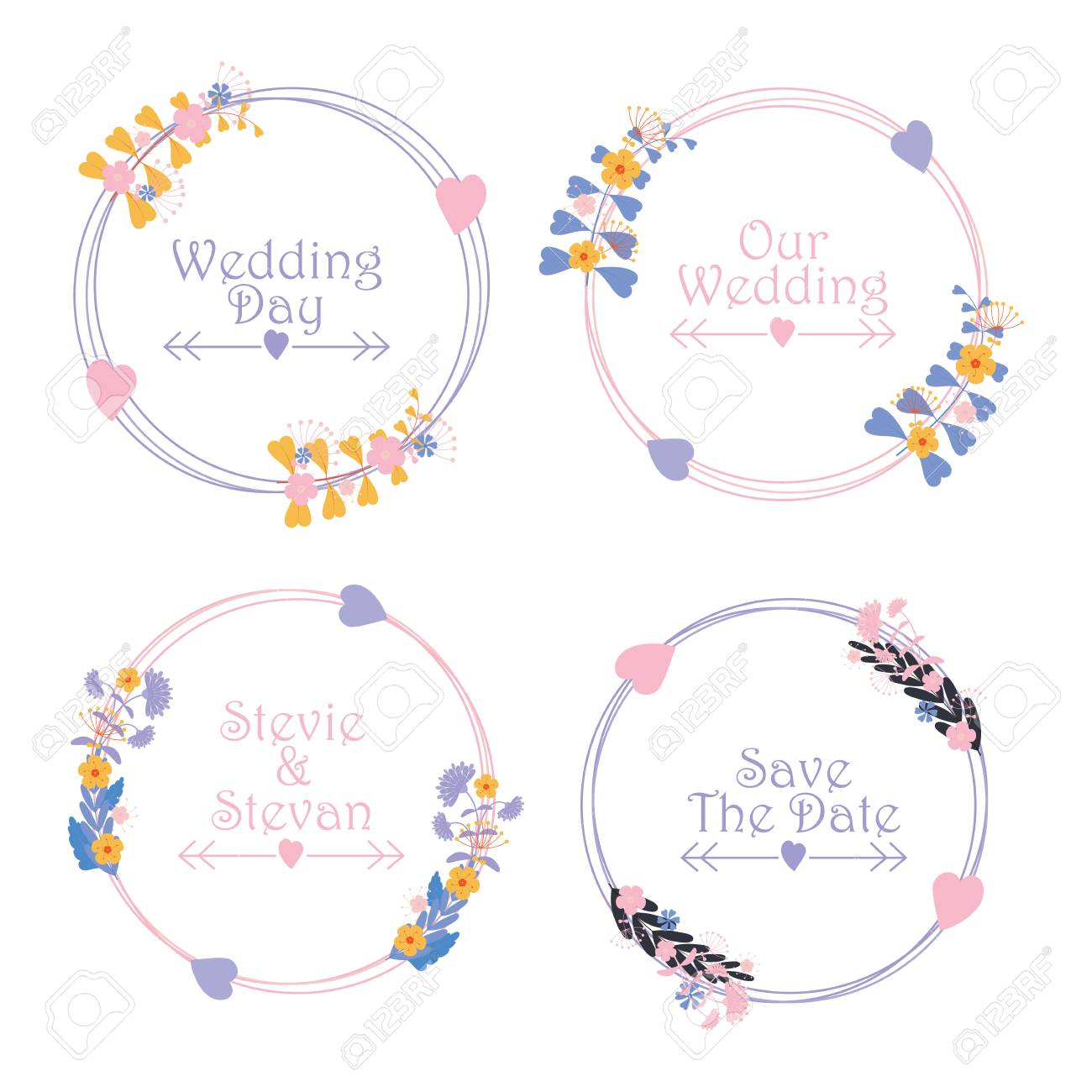 floral wedding label set vector design template with pink and