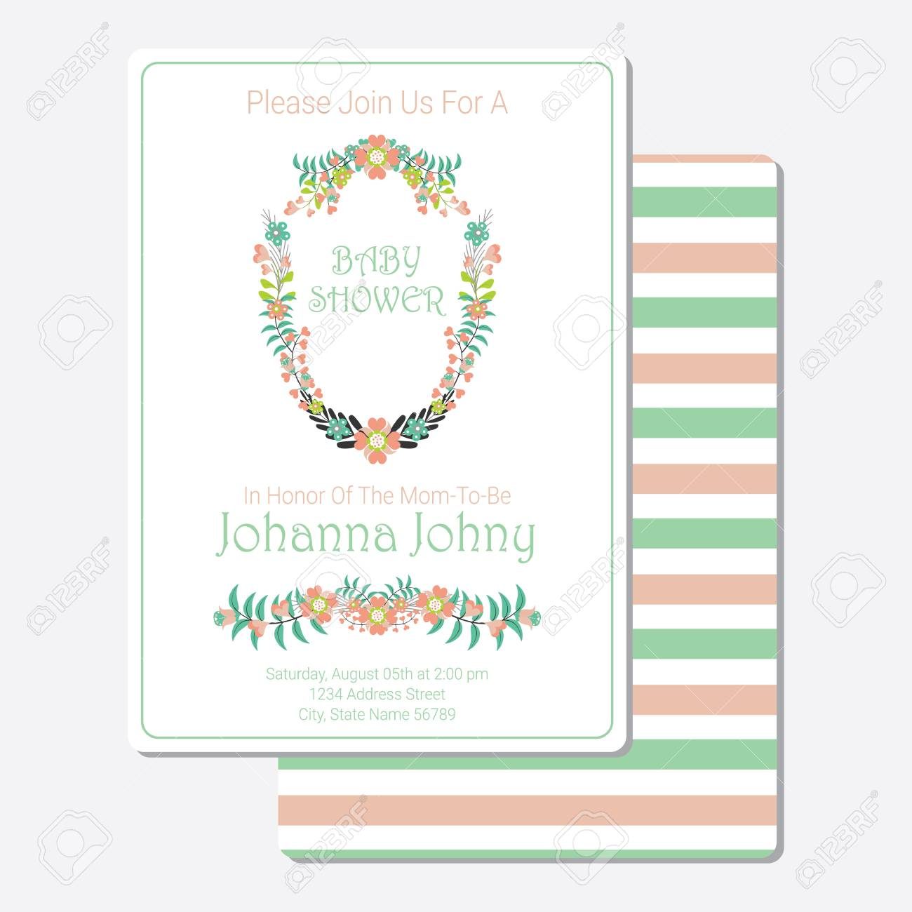 Baby Shower Invitation Card Vector Design Template With Tosca And Pink  Flowers Wreath Stock Vector