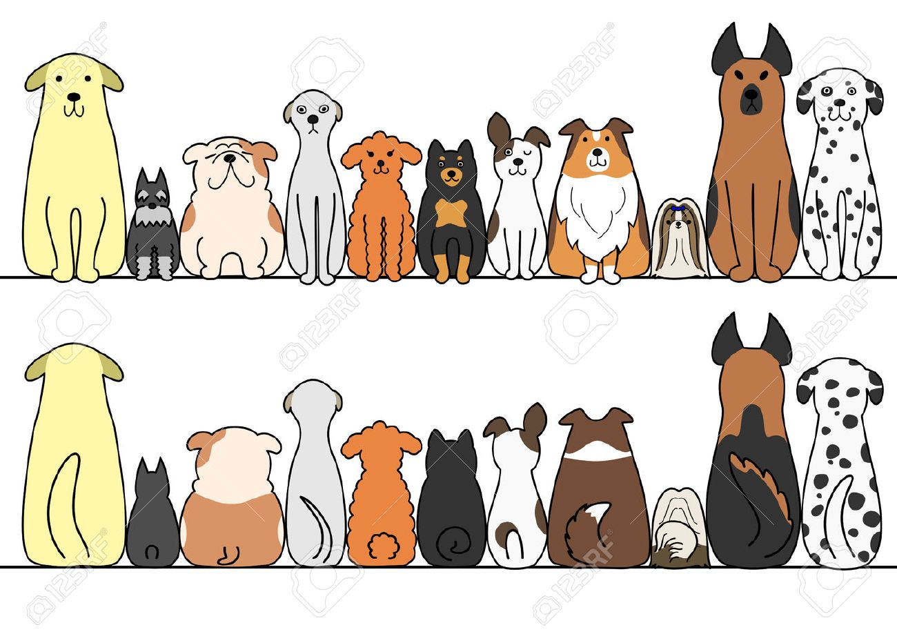 dogs in a row with copy space front and back royalty free cliparts