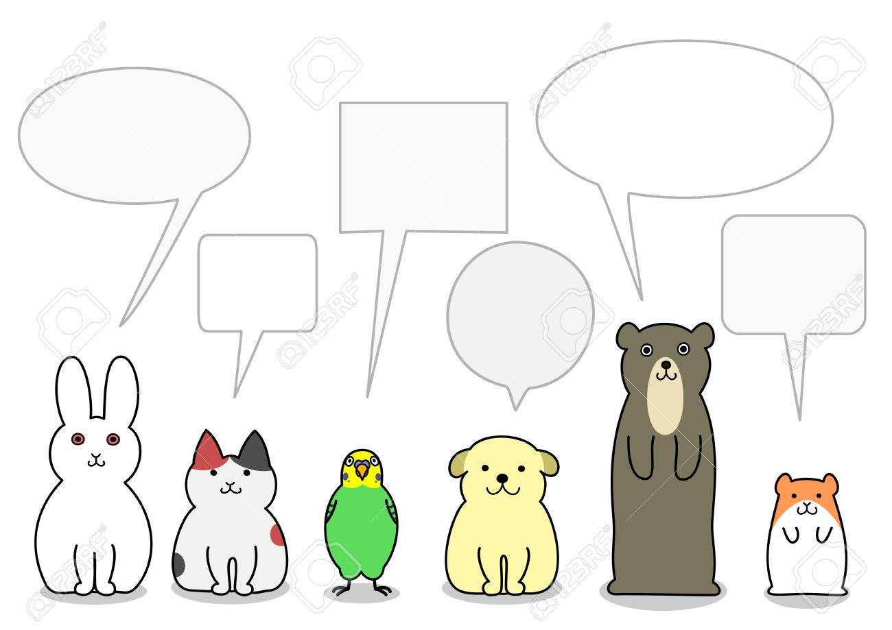 pet animals in a row with speech bubbles