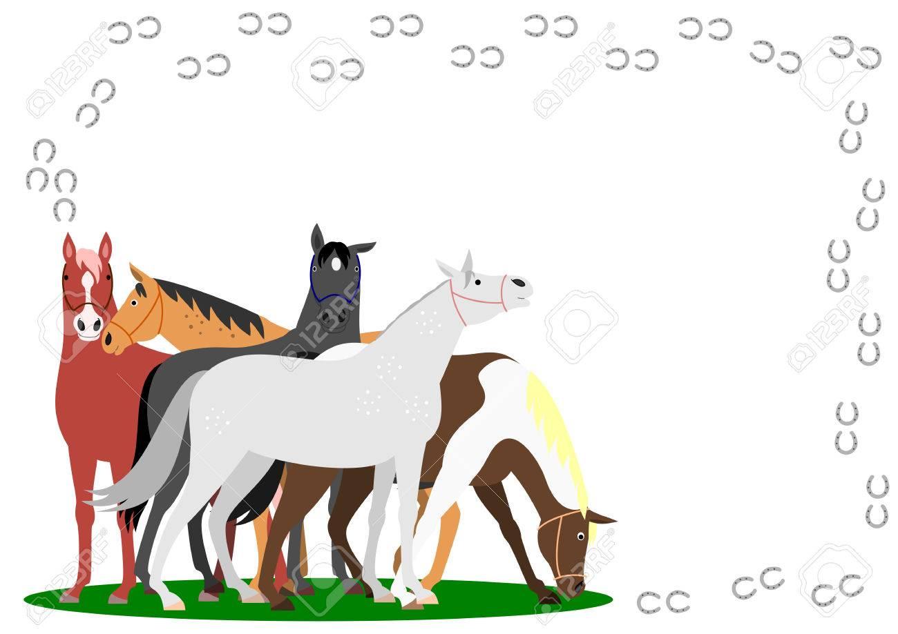 Horses With Horseshoe Frame On White Background Royalty Free ...
