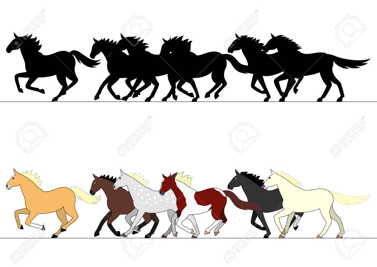 Running Horses Group Set Royalty Free Cliparts Vectors And Stock Illustration Image 56021578