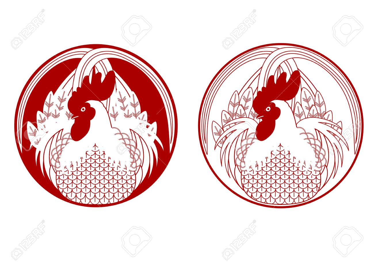 Red Rooster Stamp Set Stock Vector