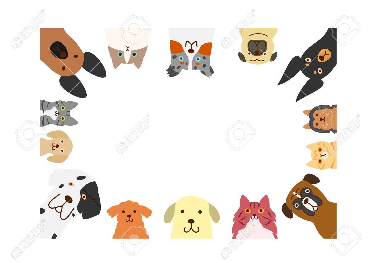 Perros Y Gatos Marco Del Rectángulo Ilustraciones Vectoriales, Clip ...