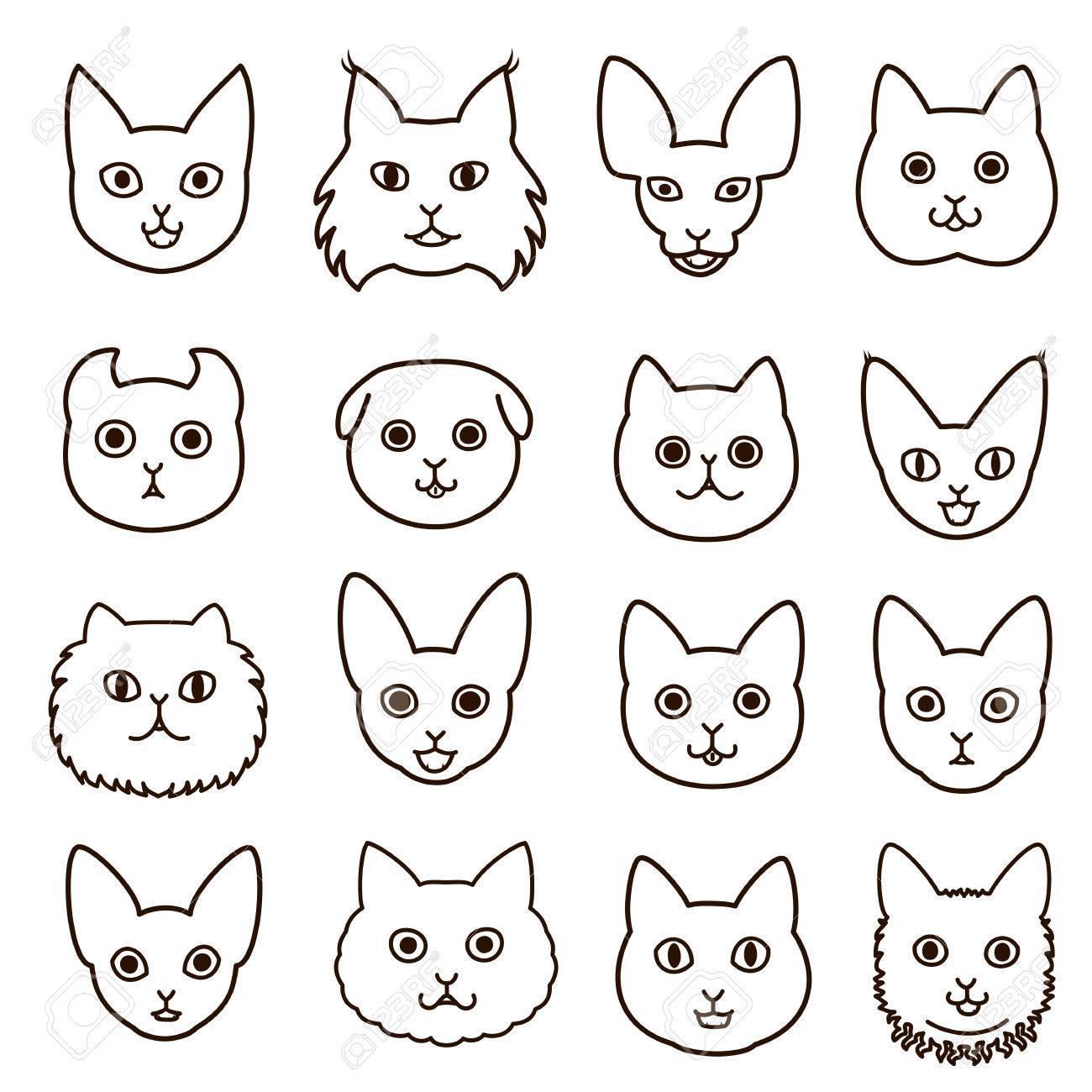 かわいい猫顔ライン アート セットのイラスト素材 ベクタ Image
