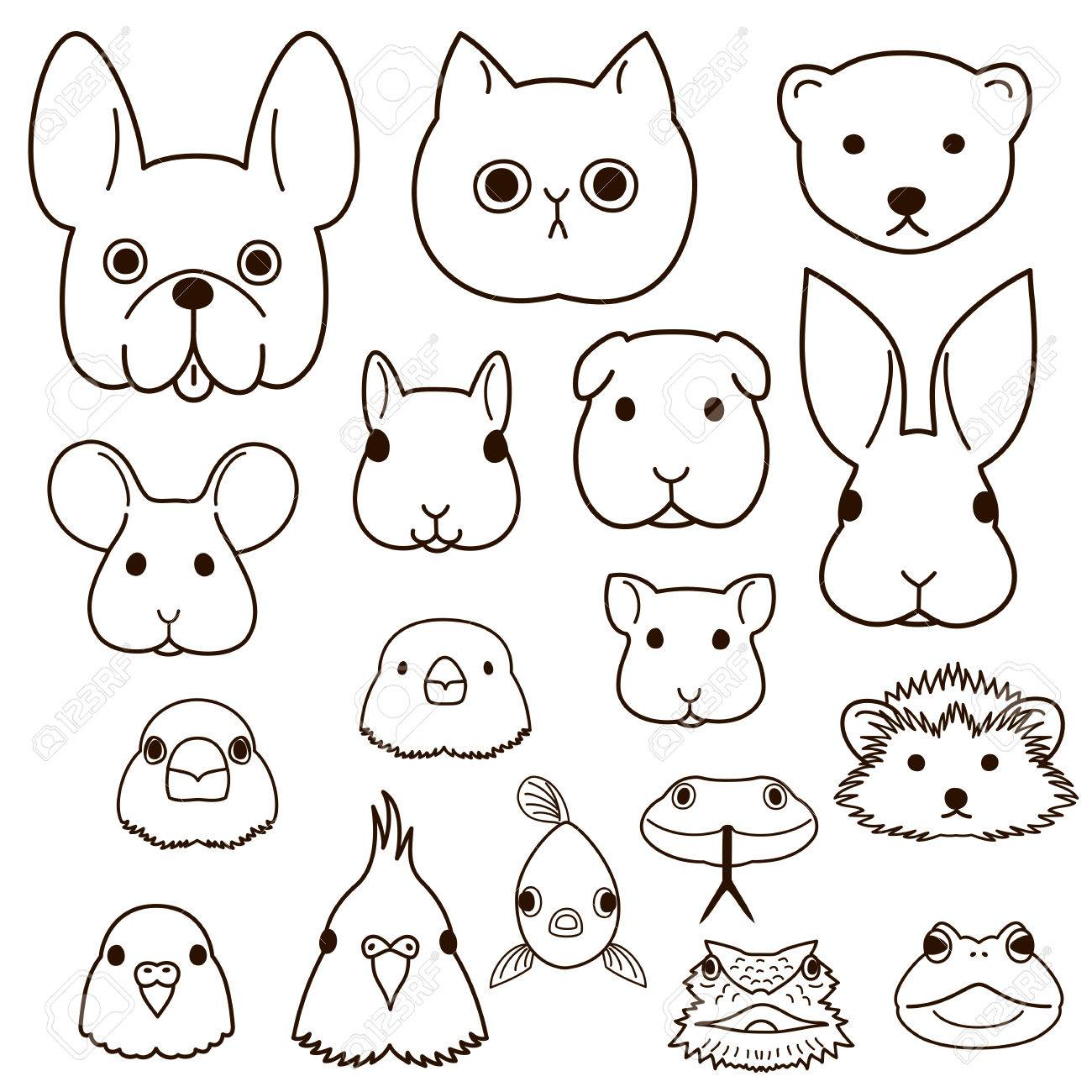 Pet Animals Faces Line Art Set Royalty Free Cliparts Vectors And