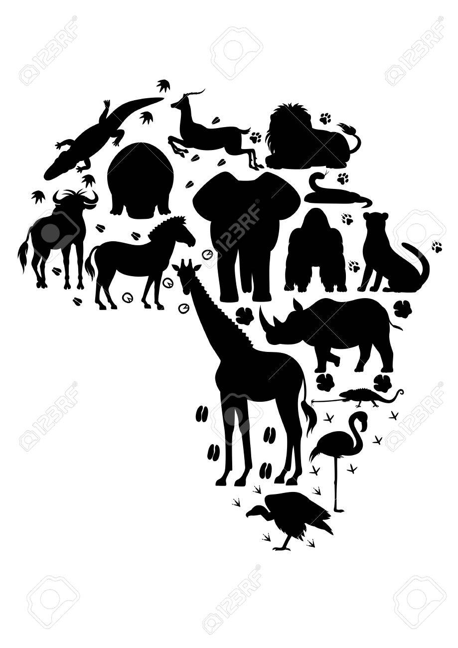 African Animal Silhouette Set With Footprints Royalty Free Cliparts Vectors And Stock Illustration Image 72549872
