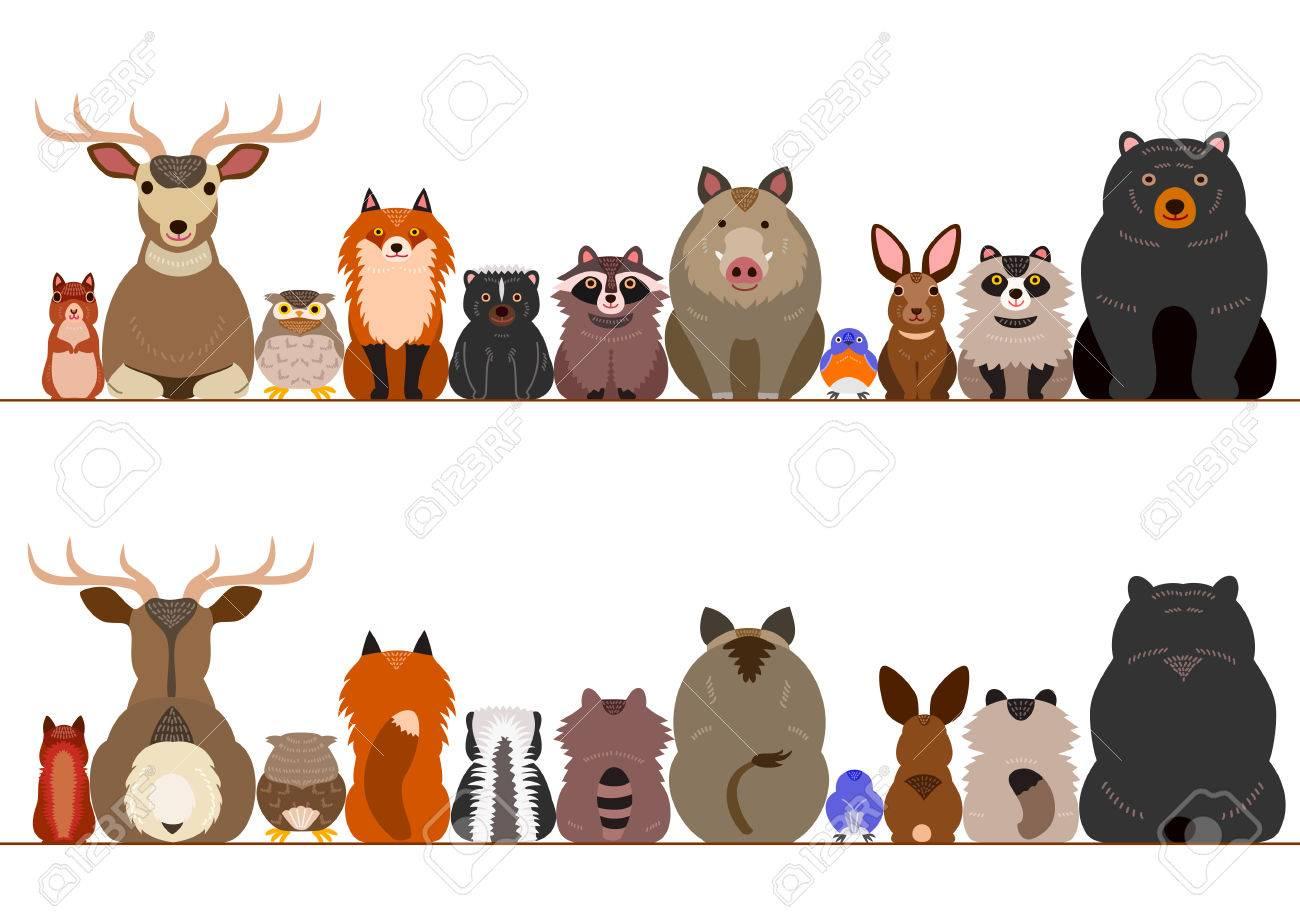 woodland animals border set - 77354003