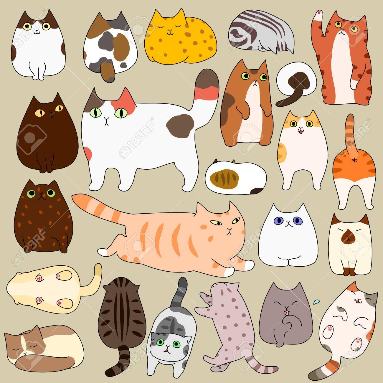 かわいい猫ポーズ落書きセットのイラスト素材 ベクタ Image 0662