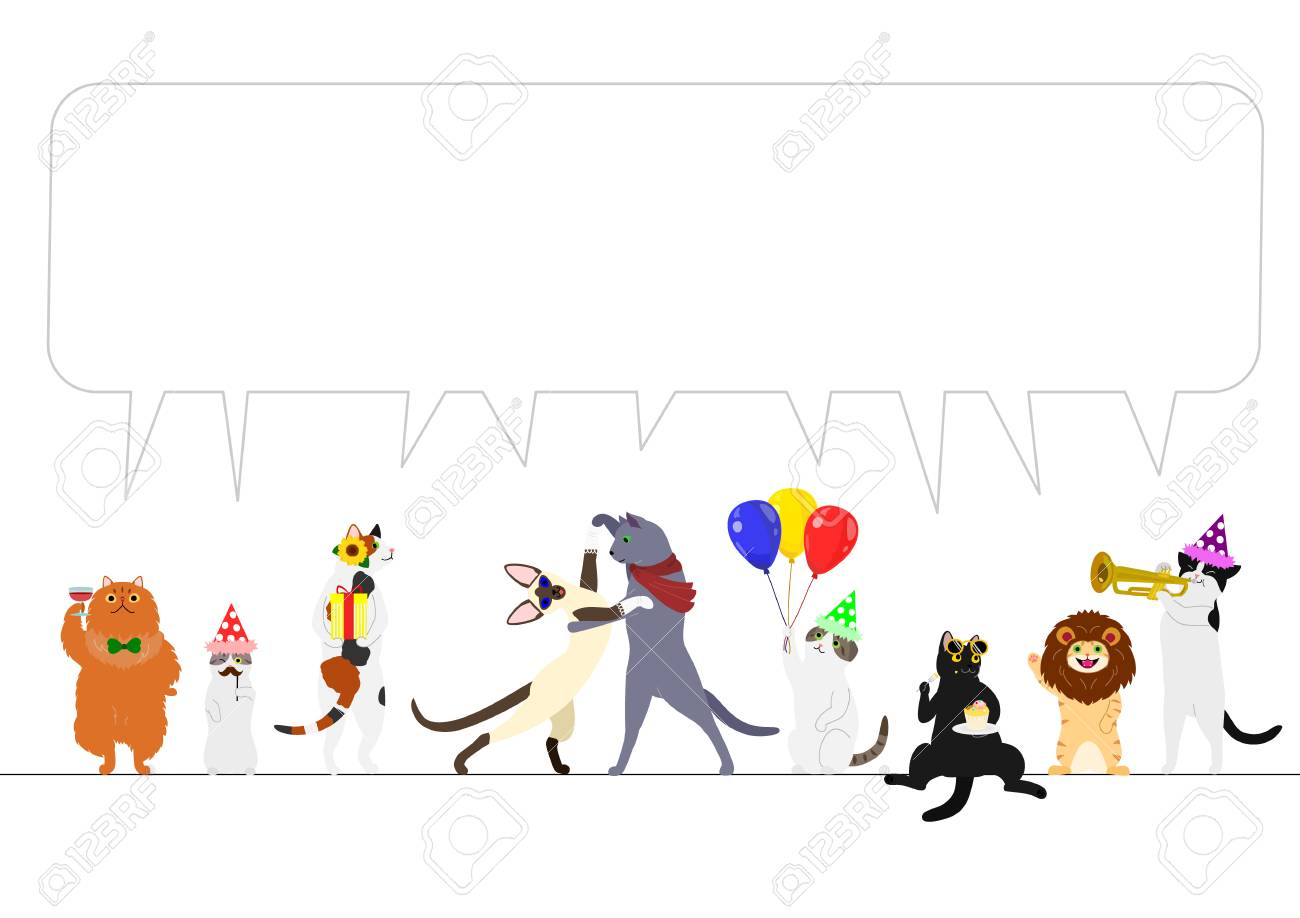 Party set with animals and speech bubble